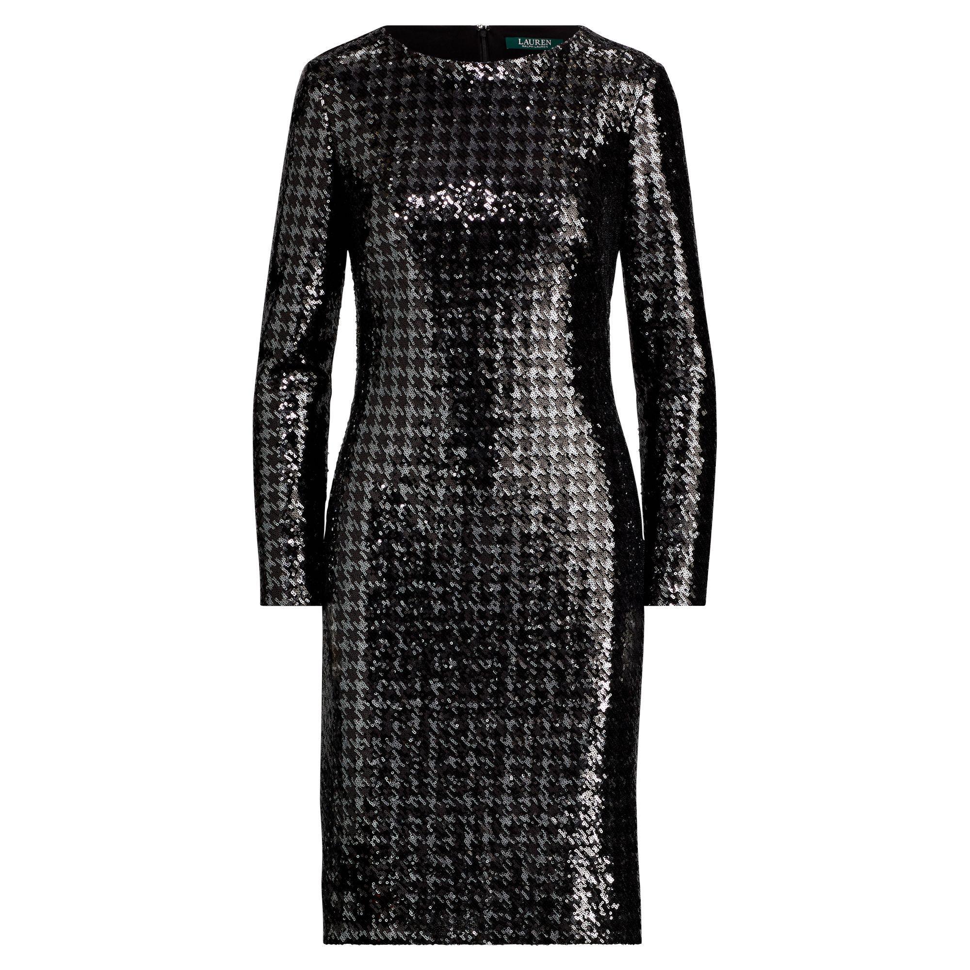 7014bc2b62c52d Lyst - Ralph Lauren Sequined Houndstooth Dress in Black