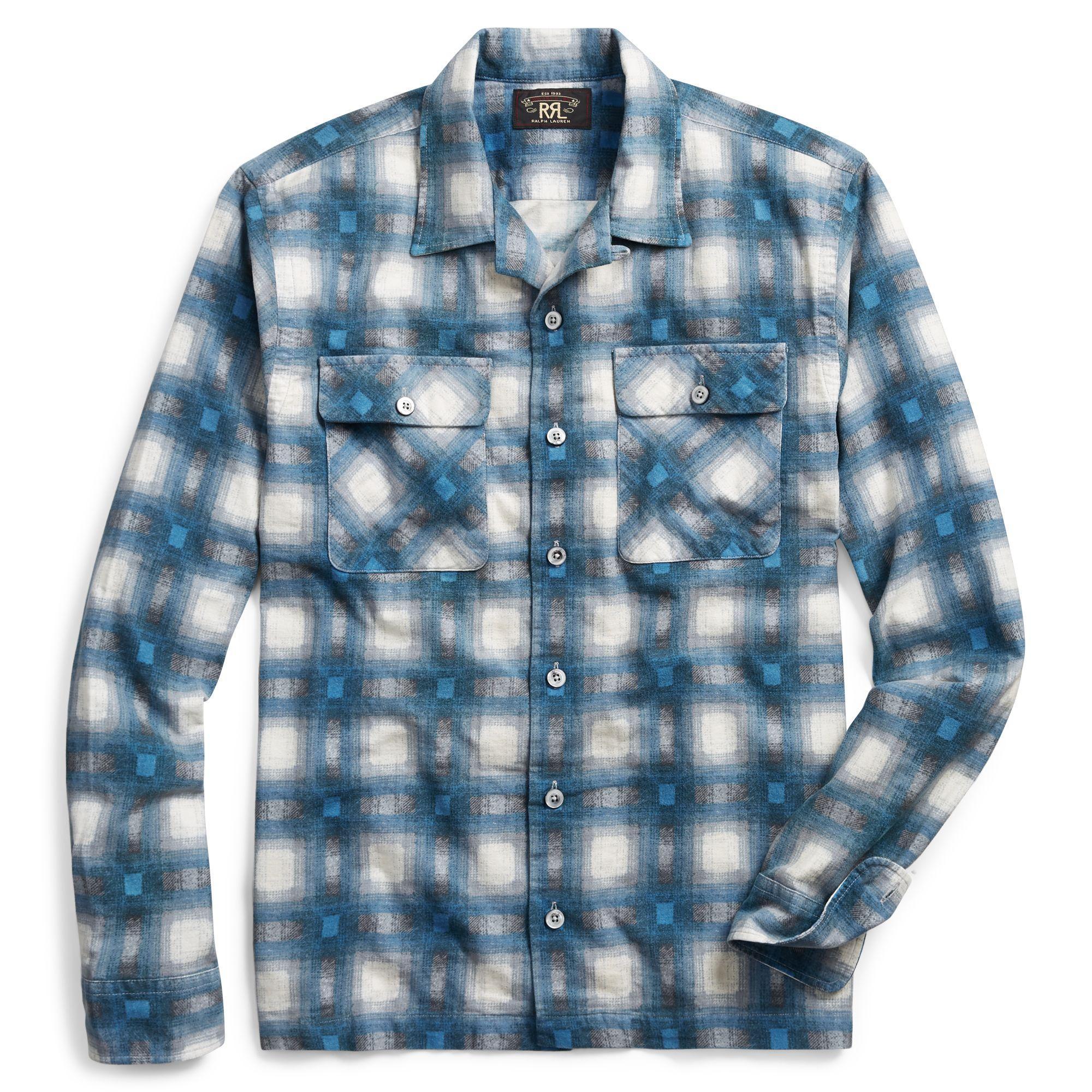 5dfe0dc3 RRL Brooks Camp Shirt - Blue/cream in Blue for Men - Lyst