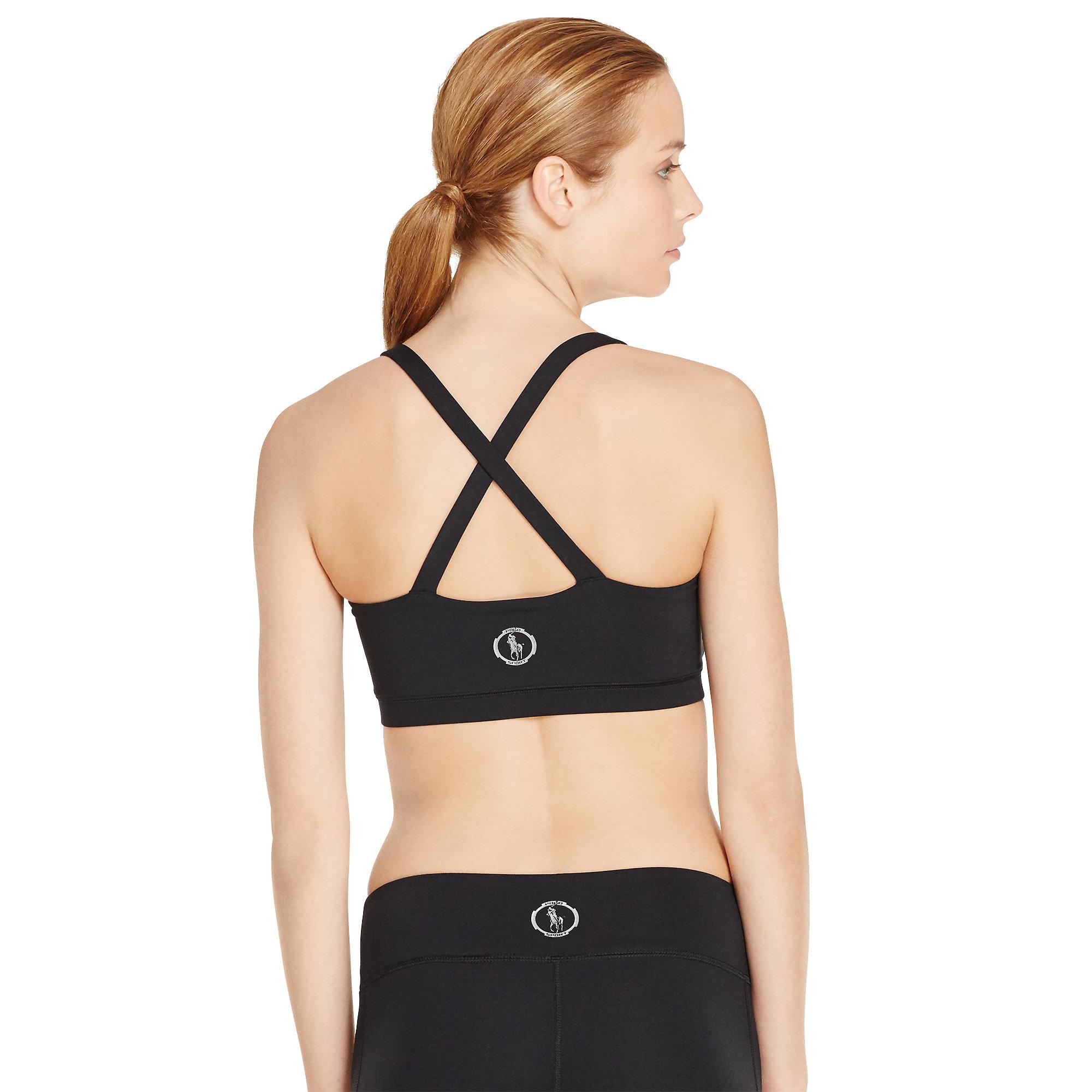 2b96e1146d Lyst - Polo Ralph Lauren Cross-back Sports Bra in Black