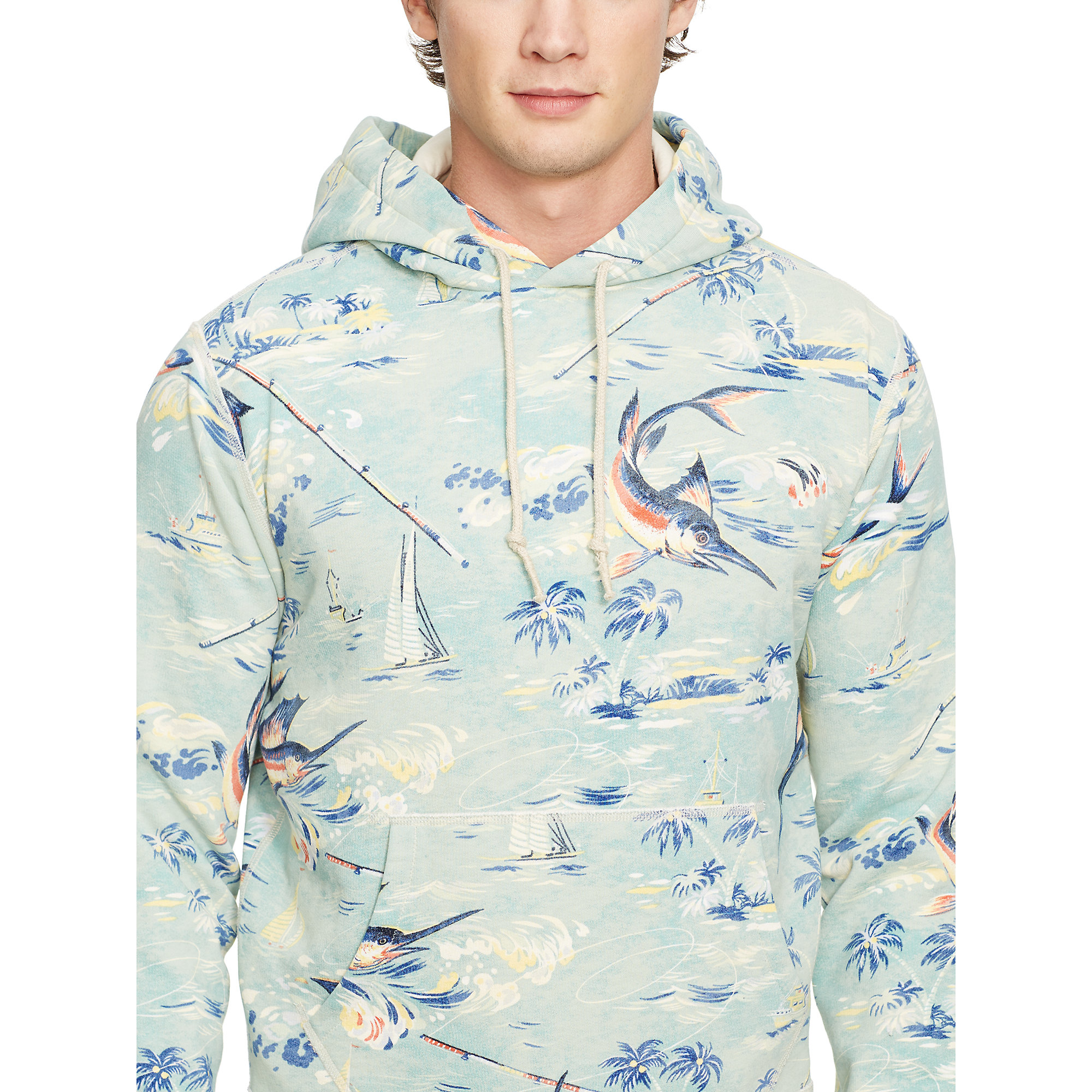 polo ralph lauren printed fleece hoodie for men lyst. Black Bedroom Furniture Sets. Home Design Ideas