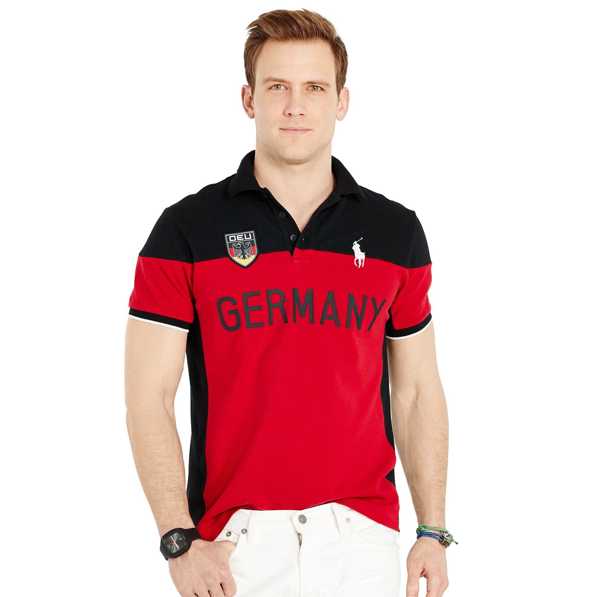 Lyst Polo Ralph Lauren Custom Fit Germany Polo Shirt In Red For Men