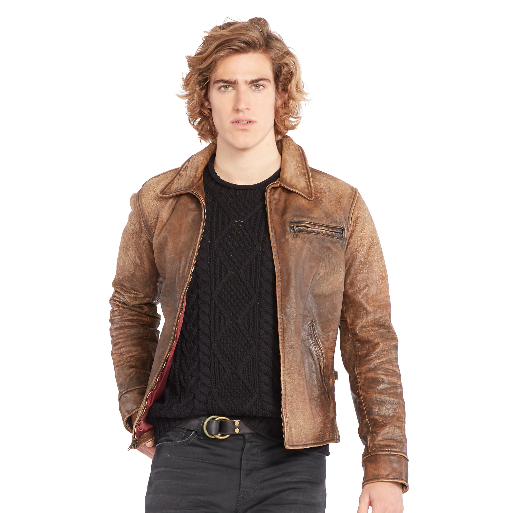 lyst polo ralph lauren leather full zip jacket in brown. Black Bedroom Furniture Sets. Home Design Ideas