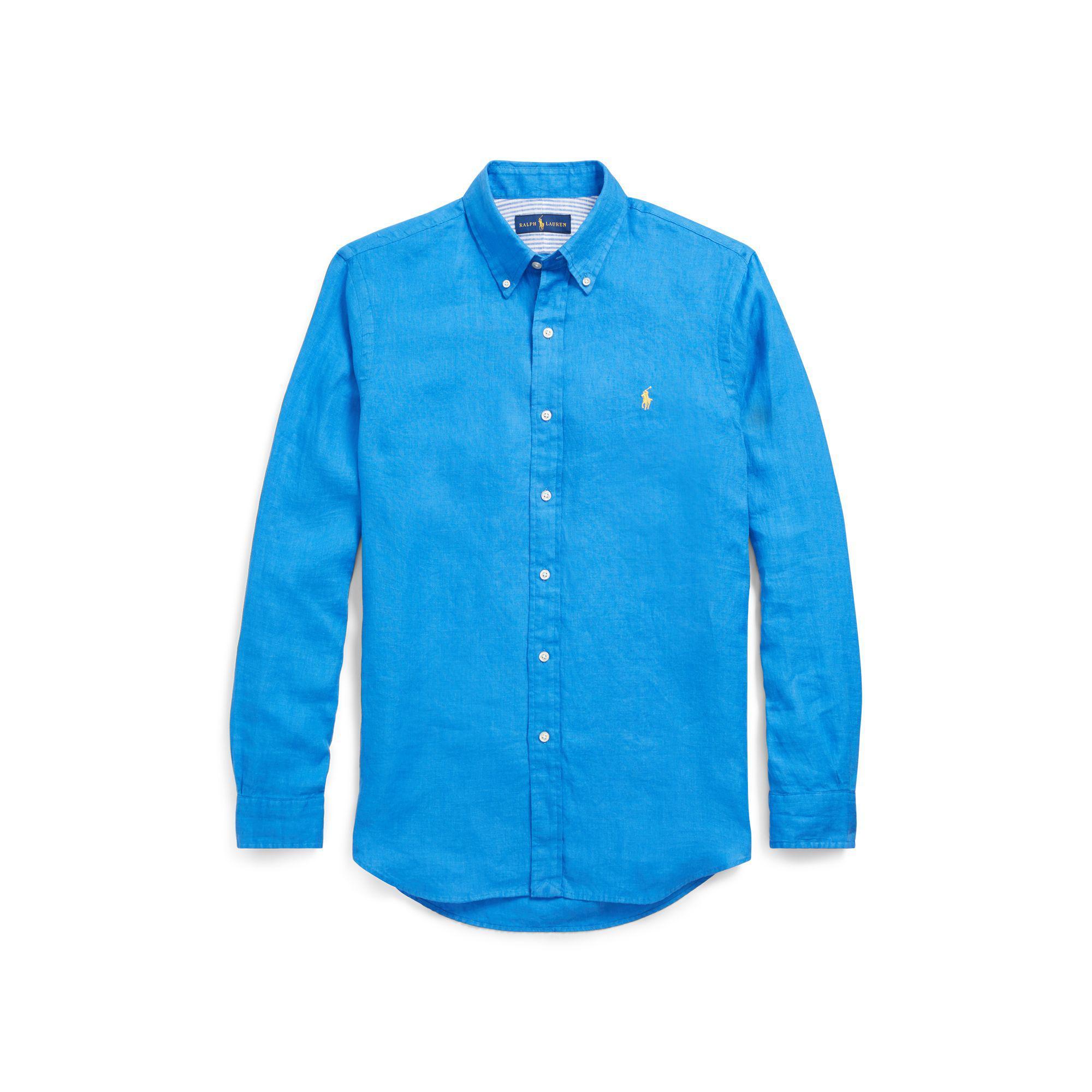 polo ralph lauren classic fit linen shirt in blue for men