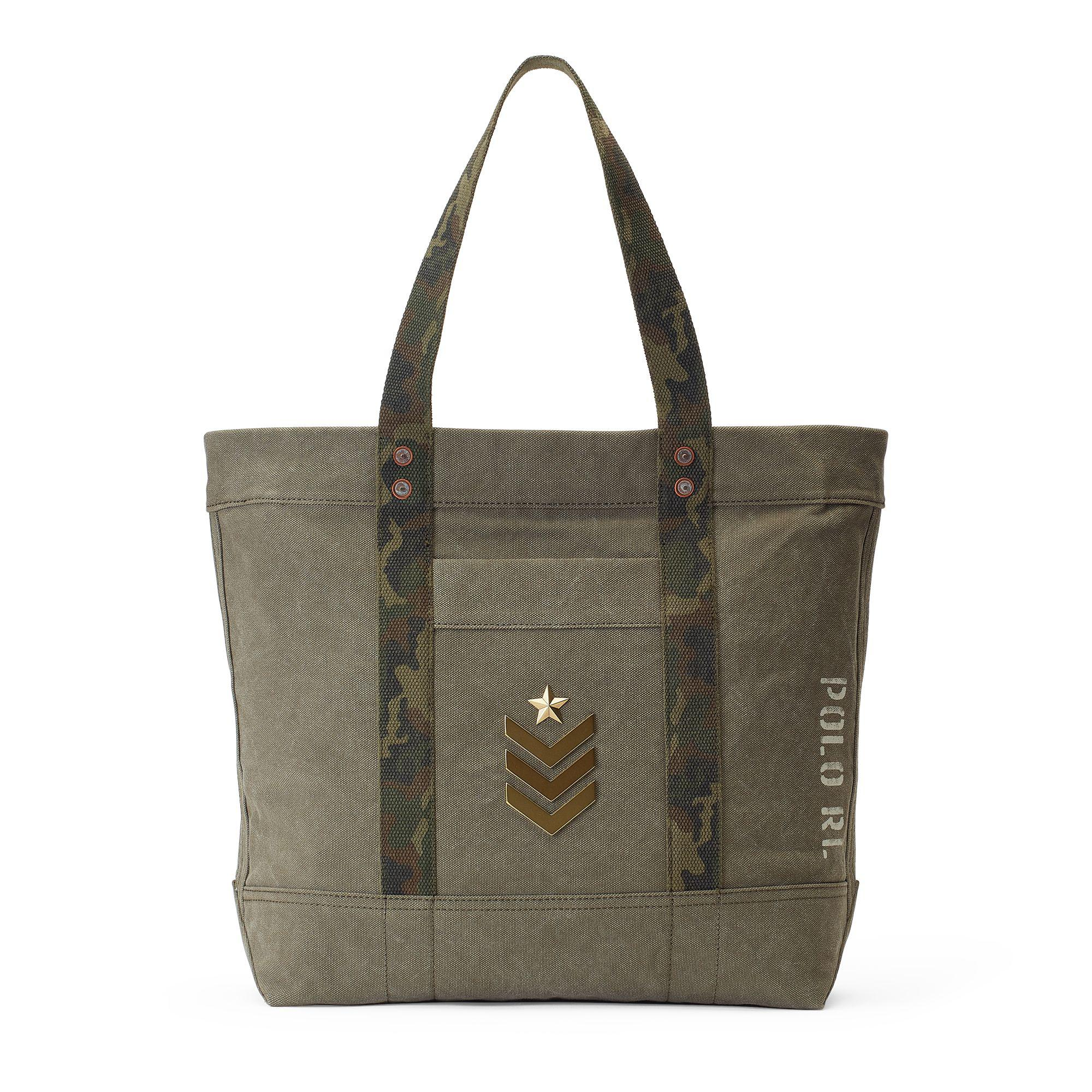 de1079e2400 Polo Ralph Lauren Military Canvas Tote Bag in Green - Lyst