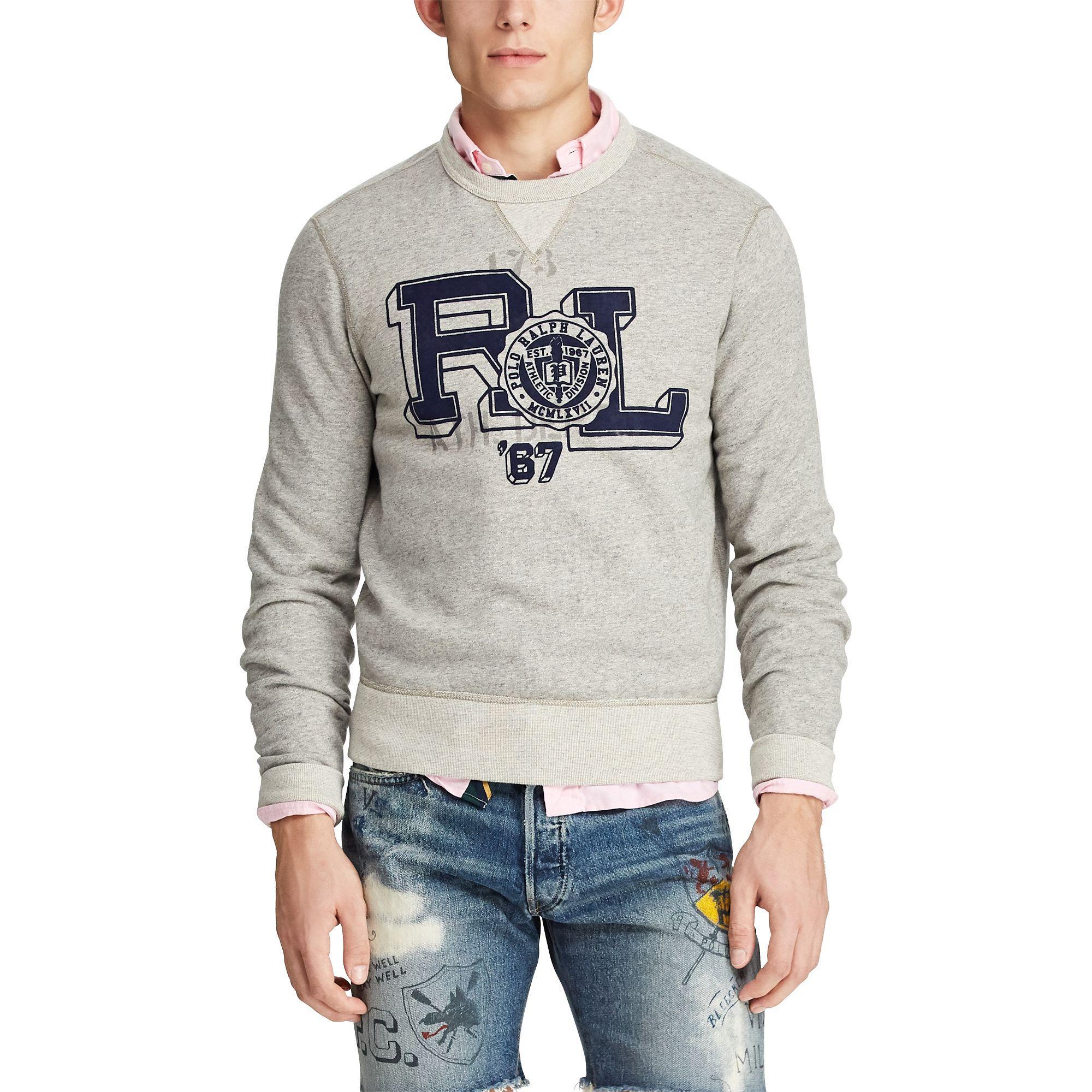 b0a9b696 Polo Ralph Lauren - Gray Fleece Graphic Sweatshirt for Men - Lyst. View  fullscreen