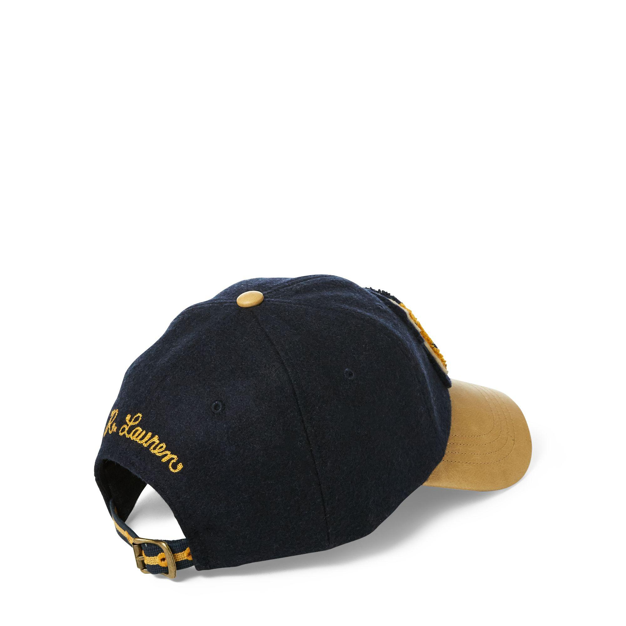 Lyst - Polo Ralph Lauren Wool-leather Letterman Cap in Blue for Men 4ccf9875256