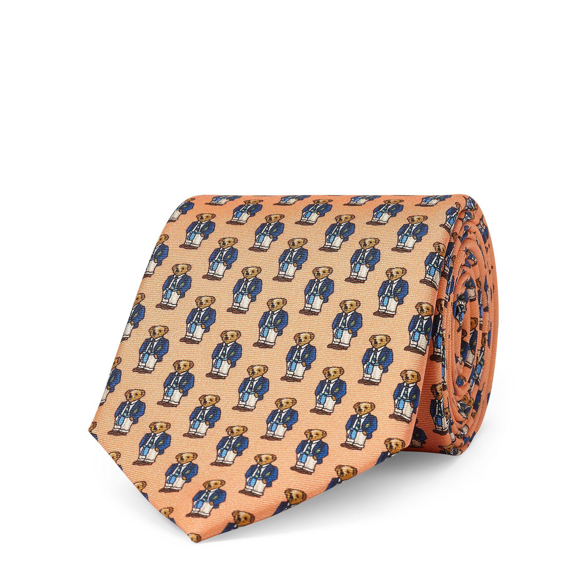 dfb08d3564 Polo Ralph Lauren Polo Bear Silk Narrow Tie in Orange for Men - Lyst