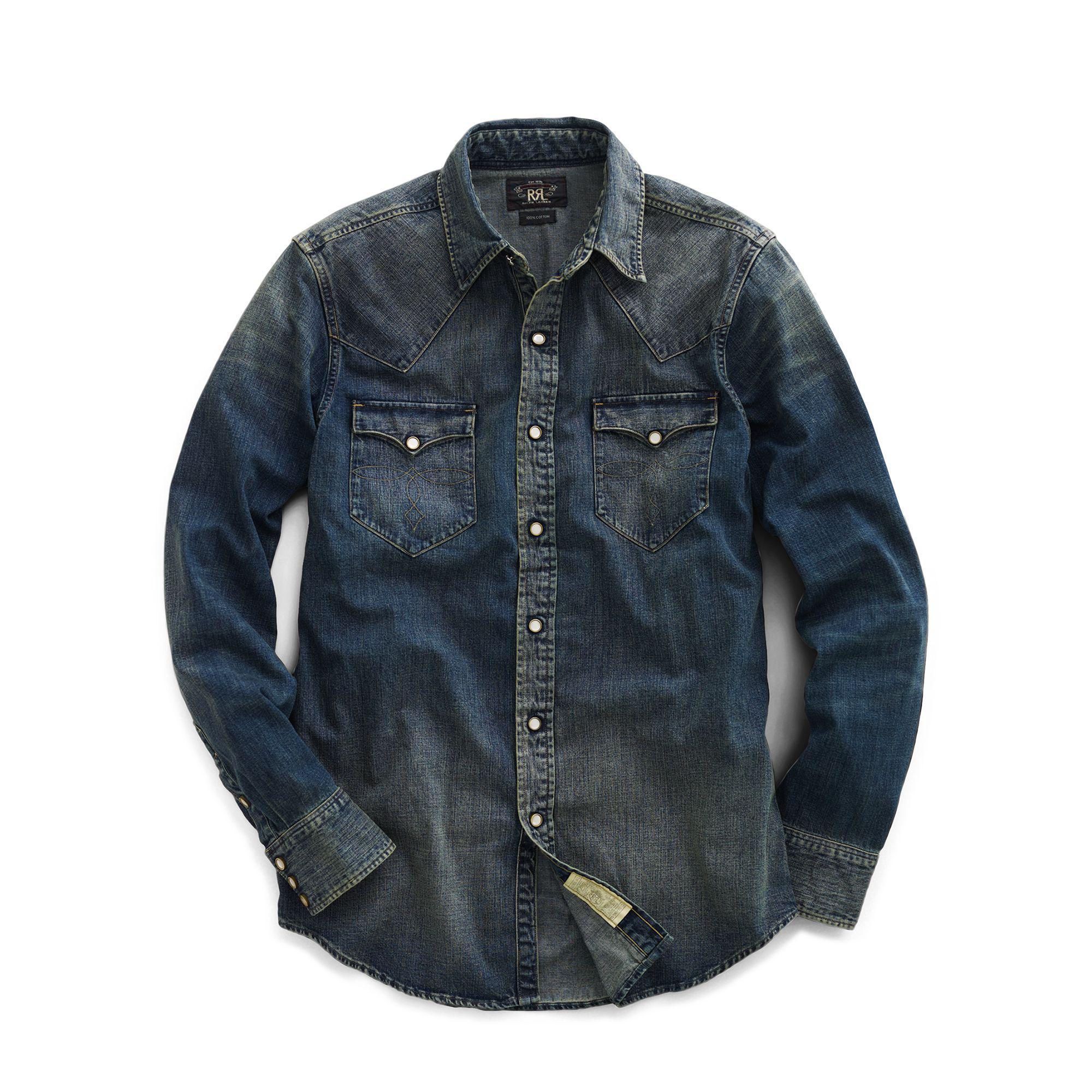 f59d27365d Lyst - RRL Slim Fit Denim Western Shirt in Blue for Men