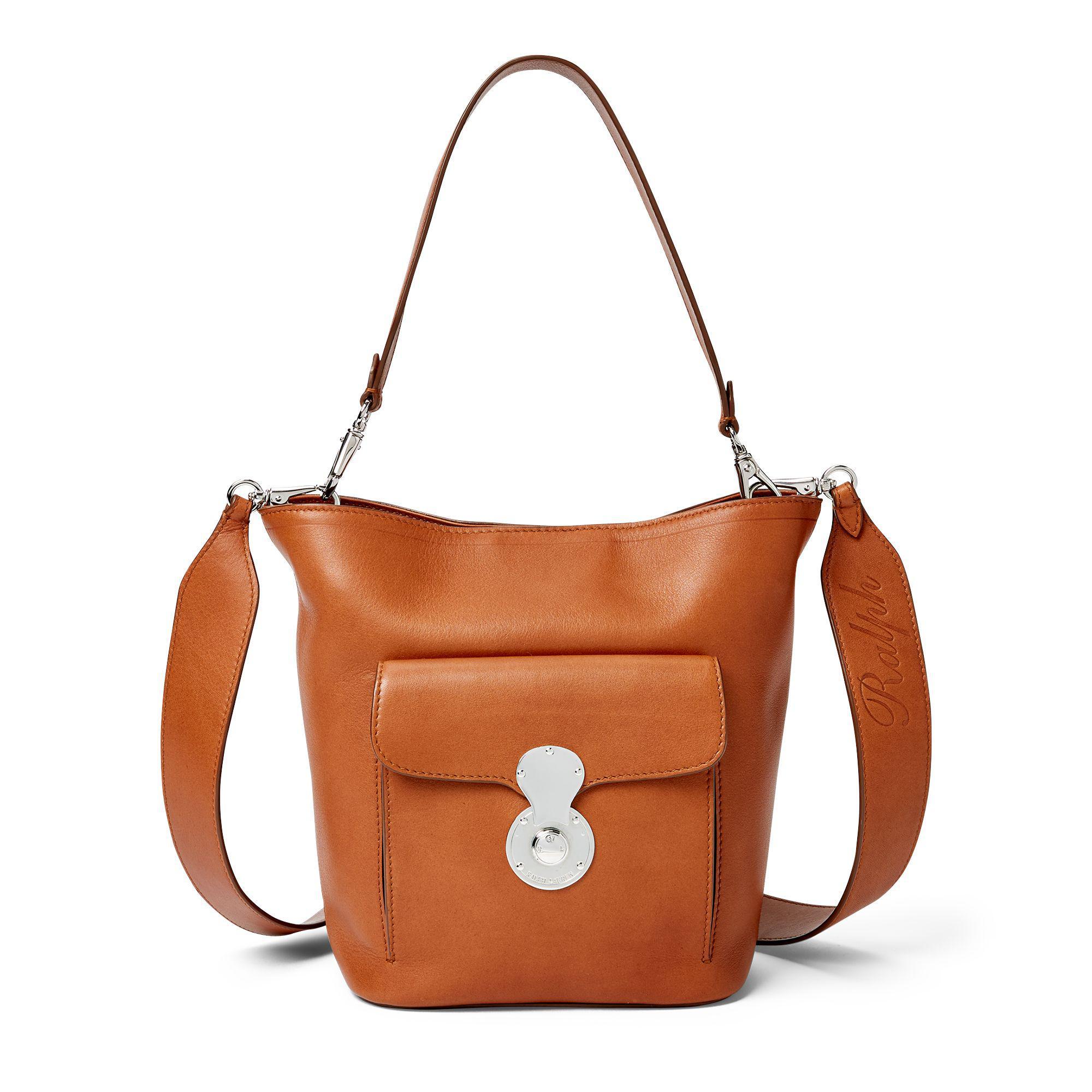 55c3435bae Ralph Lauren Calfskin Mini Rl Bucket Bag in Brown - Lyst