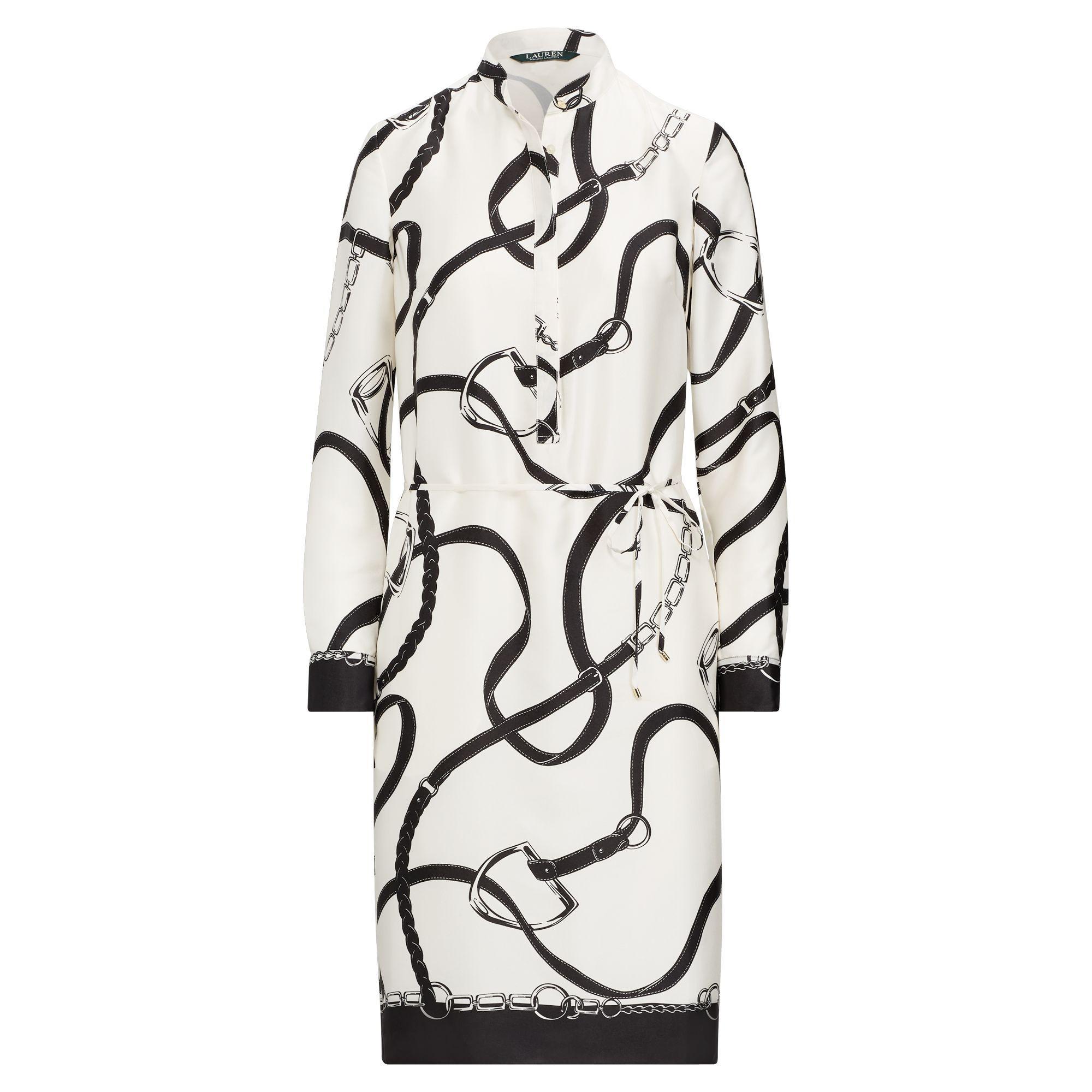 796f410ab7e Ralph Lauren Print Twill Shirtdress in Black - Lyst