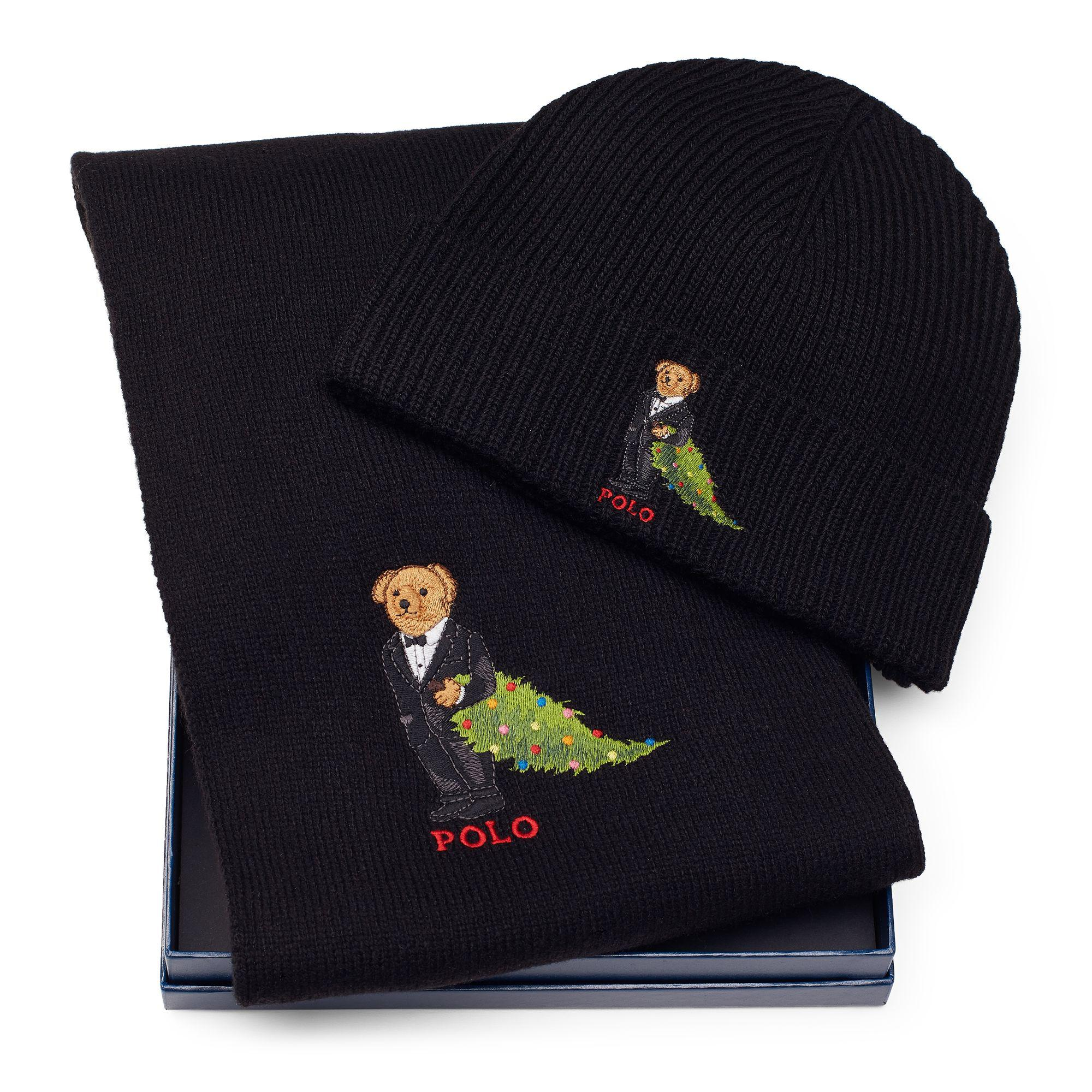 720c63eee37 ... reduced polo ralph lauren. mens black polo bear hat scarf set 35077  53a3b