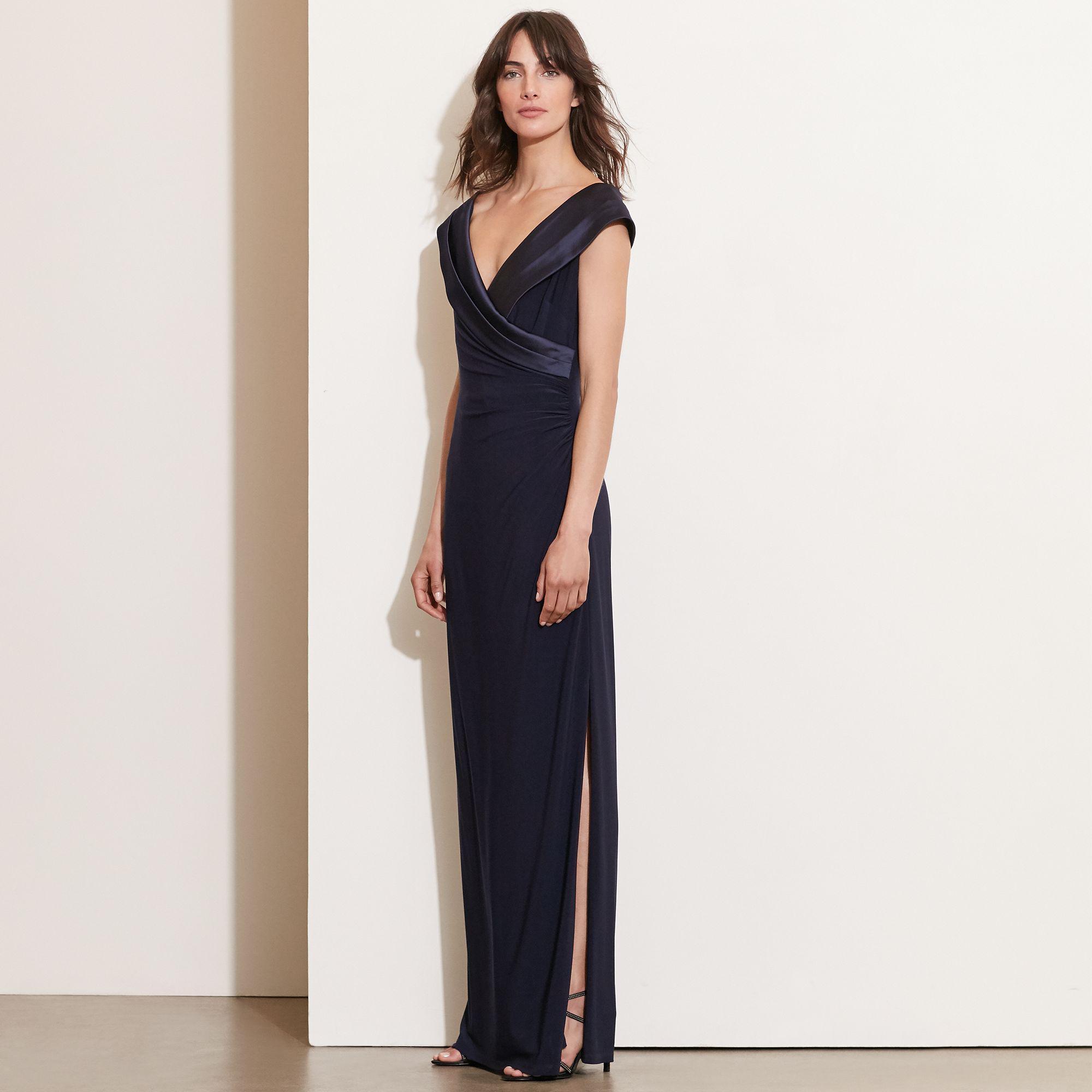 f8fc67b7ed04d Ralph Lauren Satin-neckline Jersey Gown in Blue - Lyst