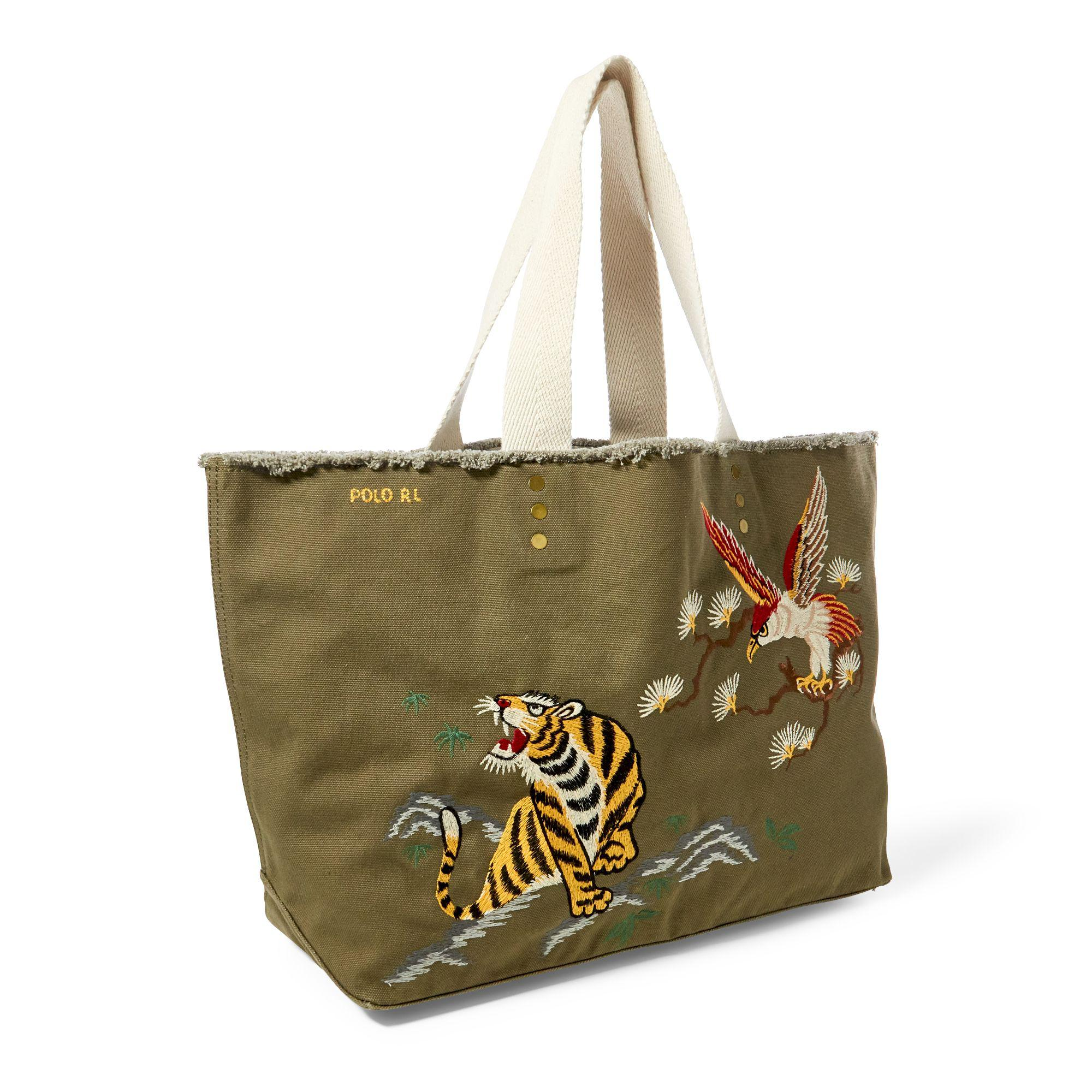 ee24dd03450 Polo Ralph Lauren Tiger-embroidered Canvas Tote in Green - Lyst