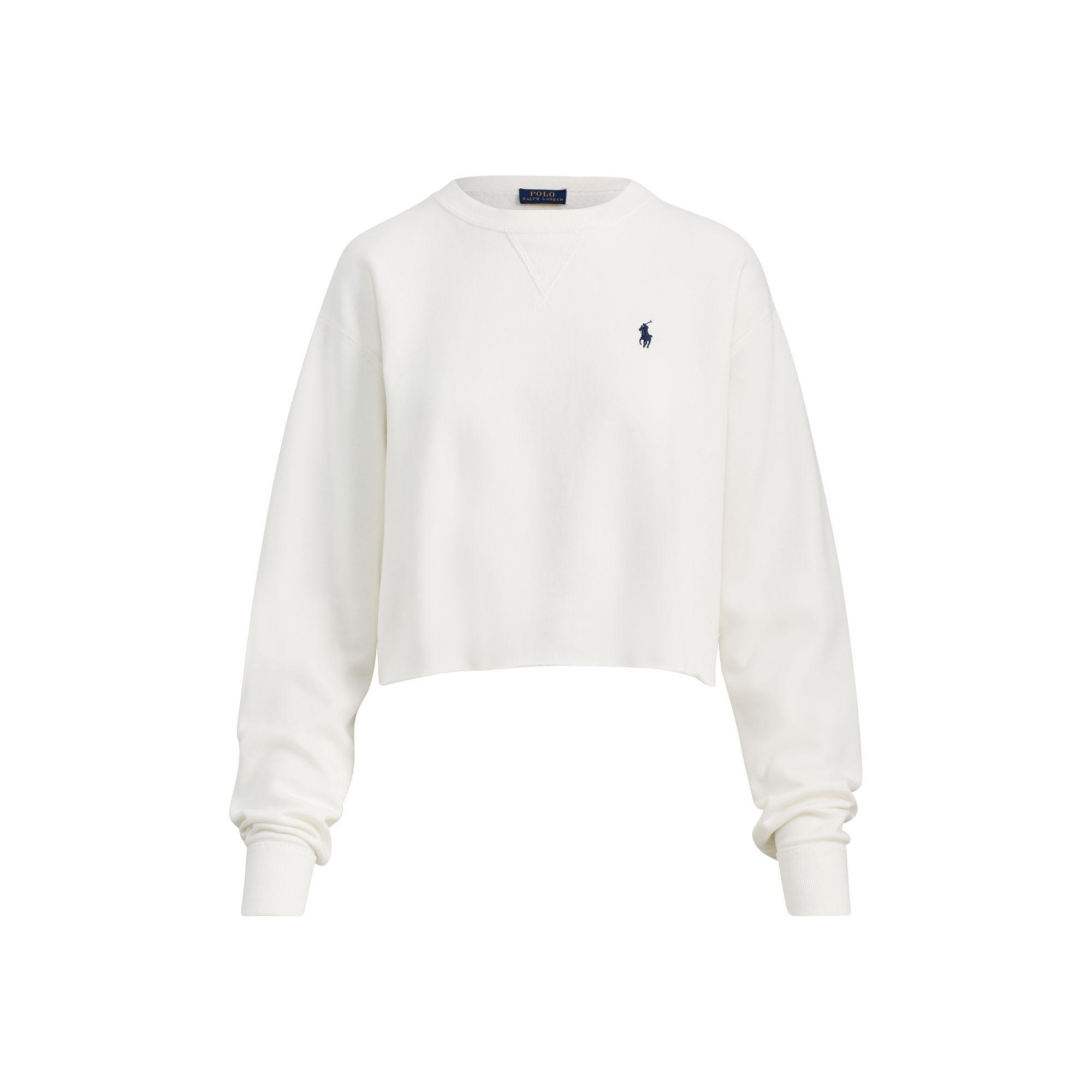 Polo Ralph Lauren. Women's White Cropped Fleece Sweatshirt