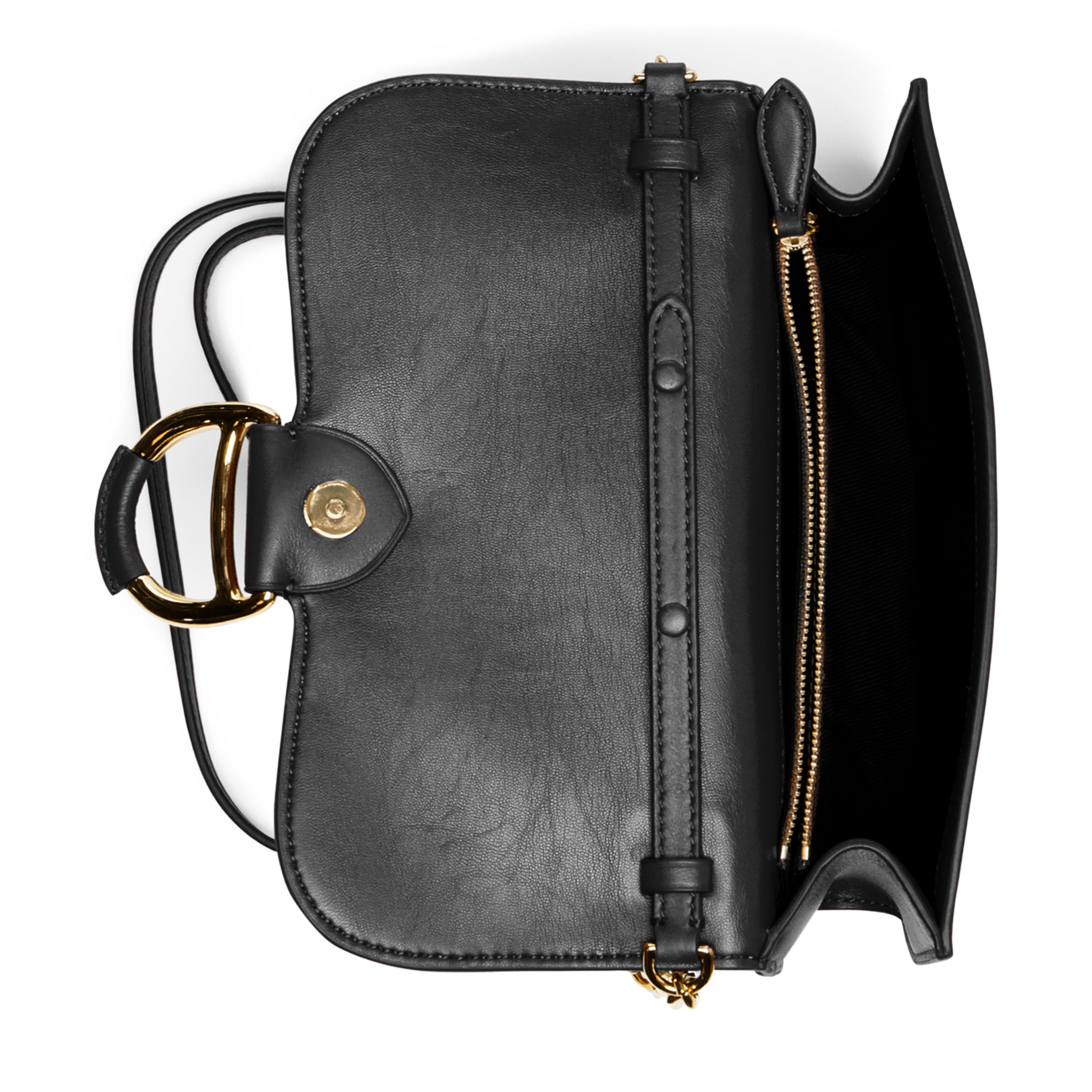 e5916605dc06 ... good lyst polo ralph lauren leather maddie crossbody bag in black b4c62  c88c6