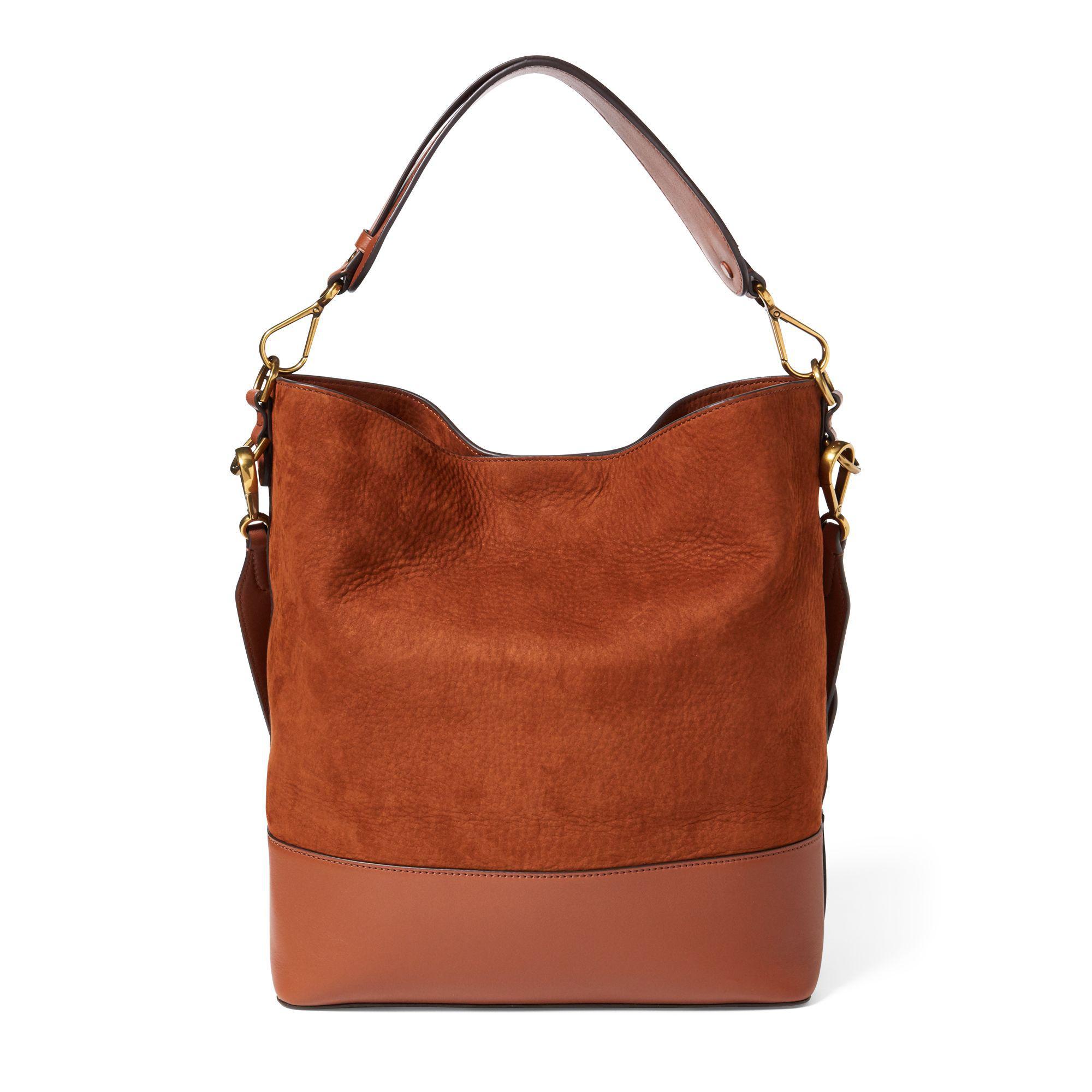 7fe396b292b6 Lyst - Polo Ralph Lauren Nubuck Leather Hobo Bag in Brown