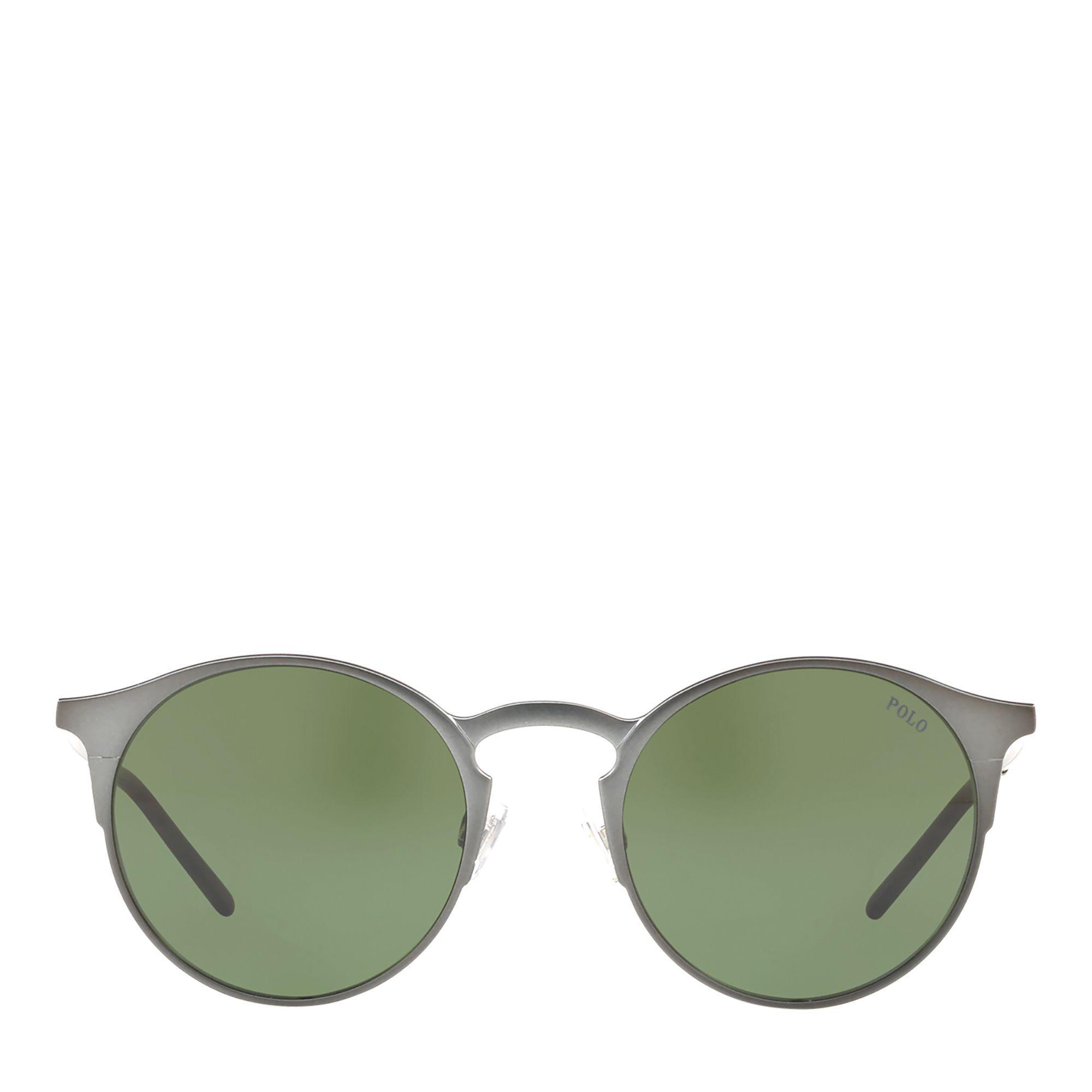 ca802ed5c Polo Ralph Lauren Round Metal Sunglasses in Green for Men - Lyst
