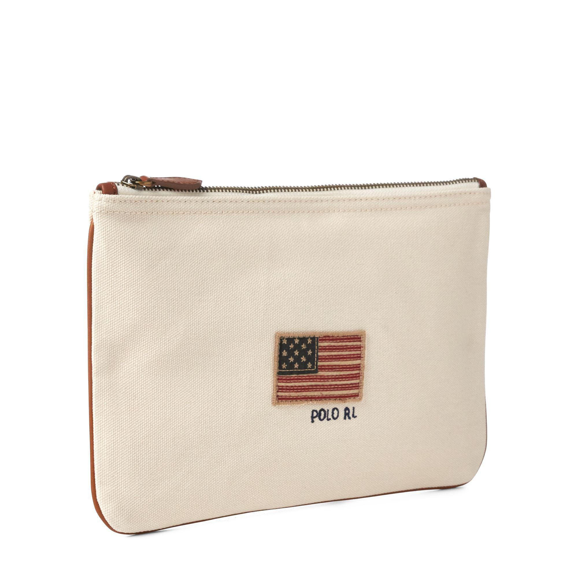 641b23d029 Lyst - Polo Ralph Lauren Flag Canvas Small Pouch in Natural