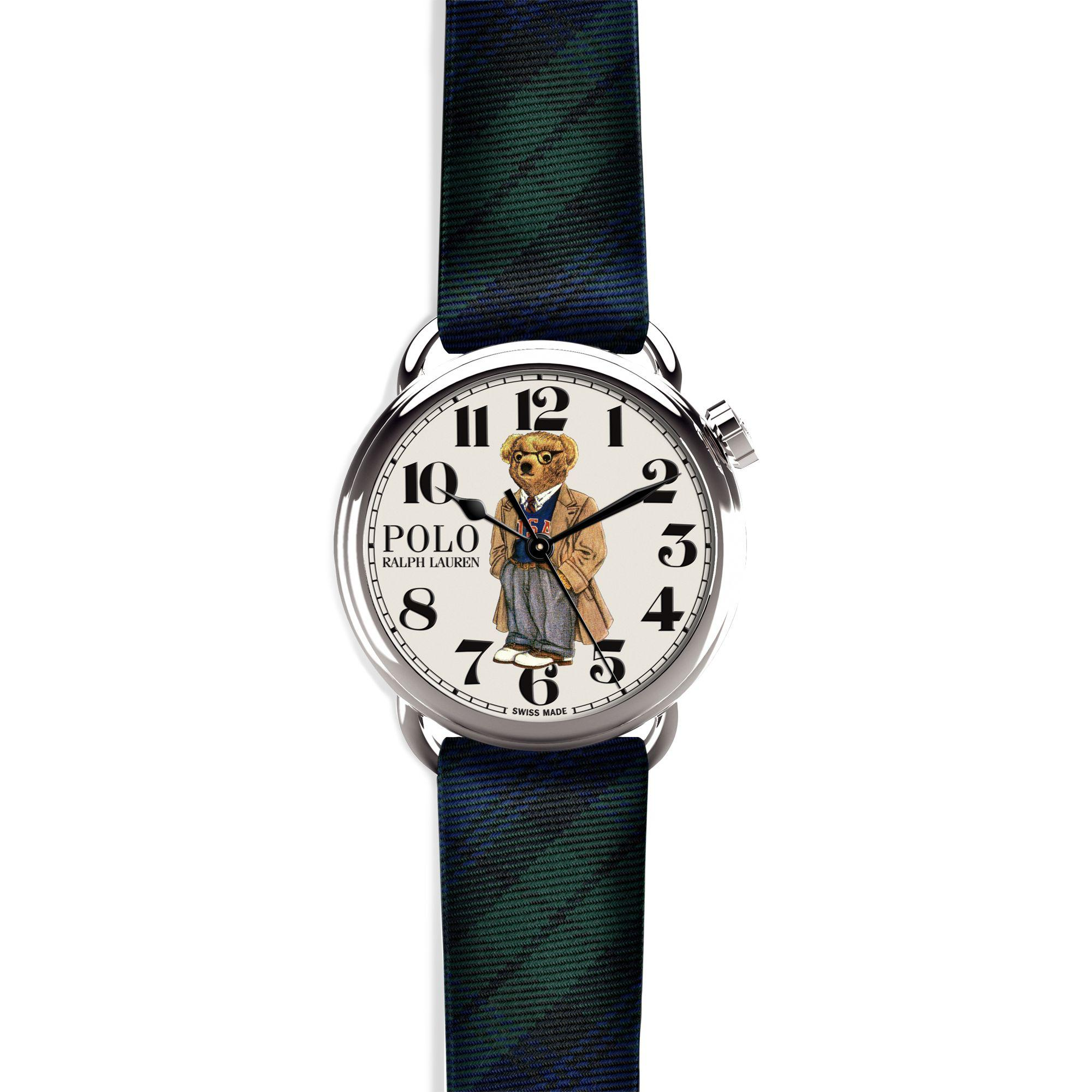 Polo Ralph Lauren Leather Polo Spectator Bear Watch for Men