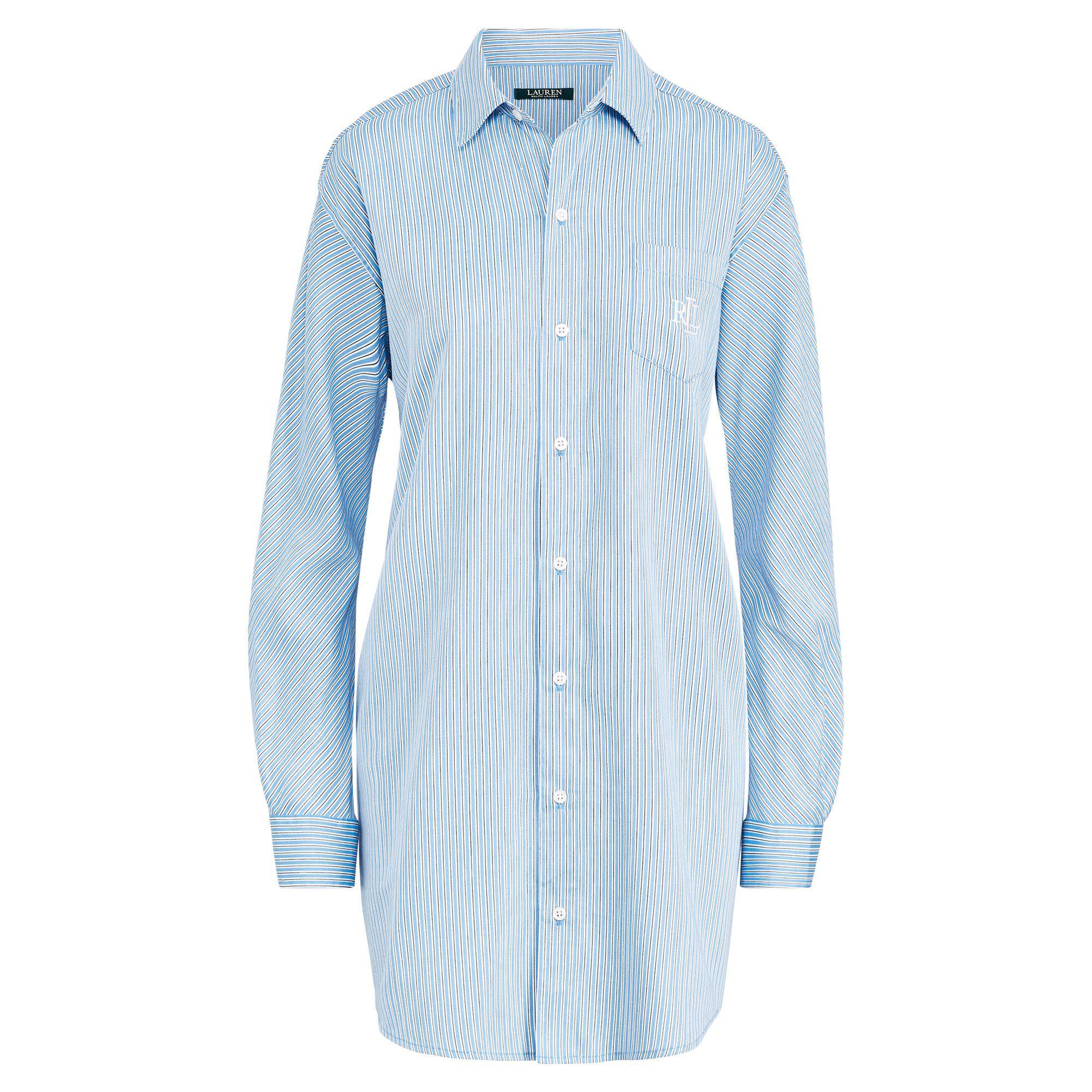 d6de44b2614 Lyst - Ralph Lauren Stripe Sateen Sleep Shirt in Blue