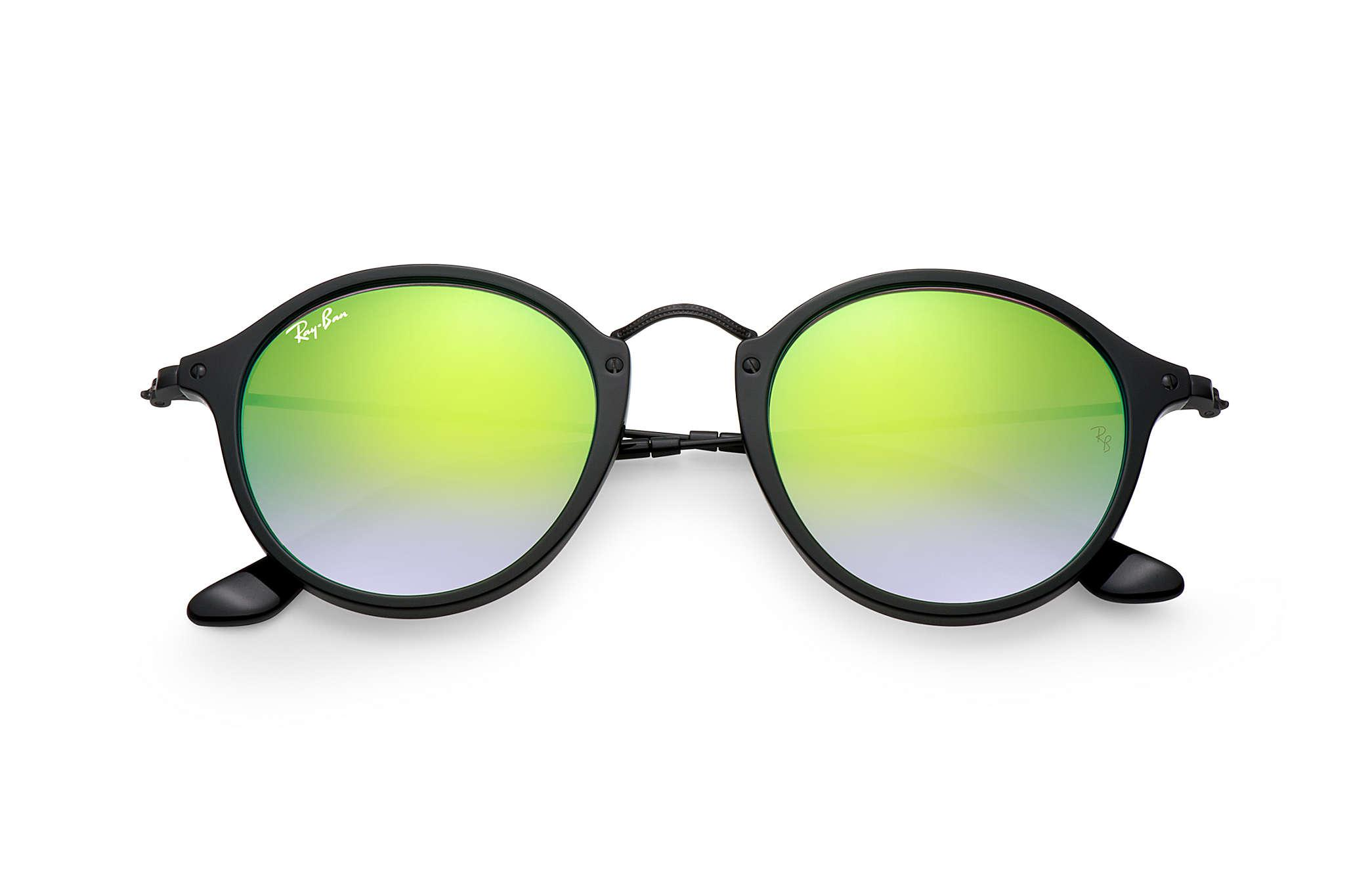 7acb26f022a Ray-Ban - Green Round Fleck Flash Lenses Gradient - Lyst. View fullscreen