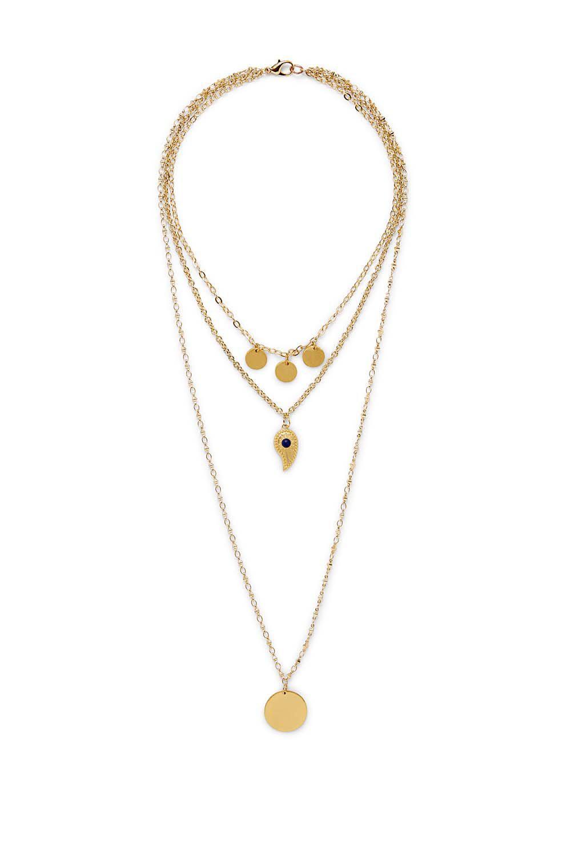 Triple Layer Paisley Necklace in Metallic Gold Rebecca Minkoff SJUpOh8