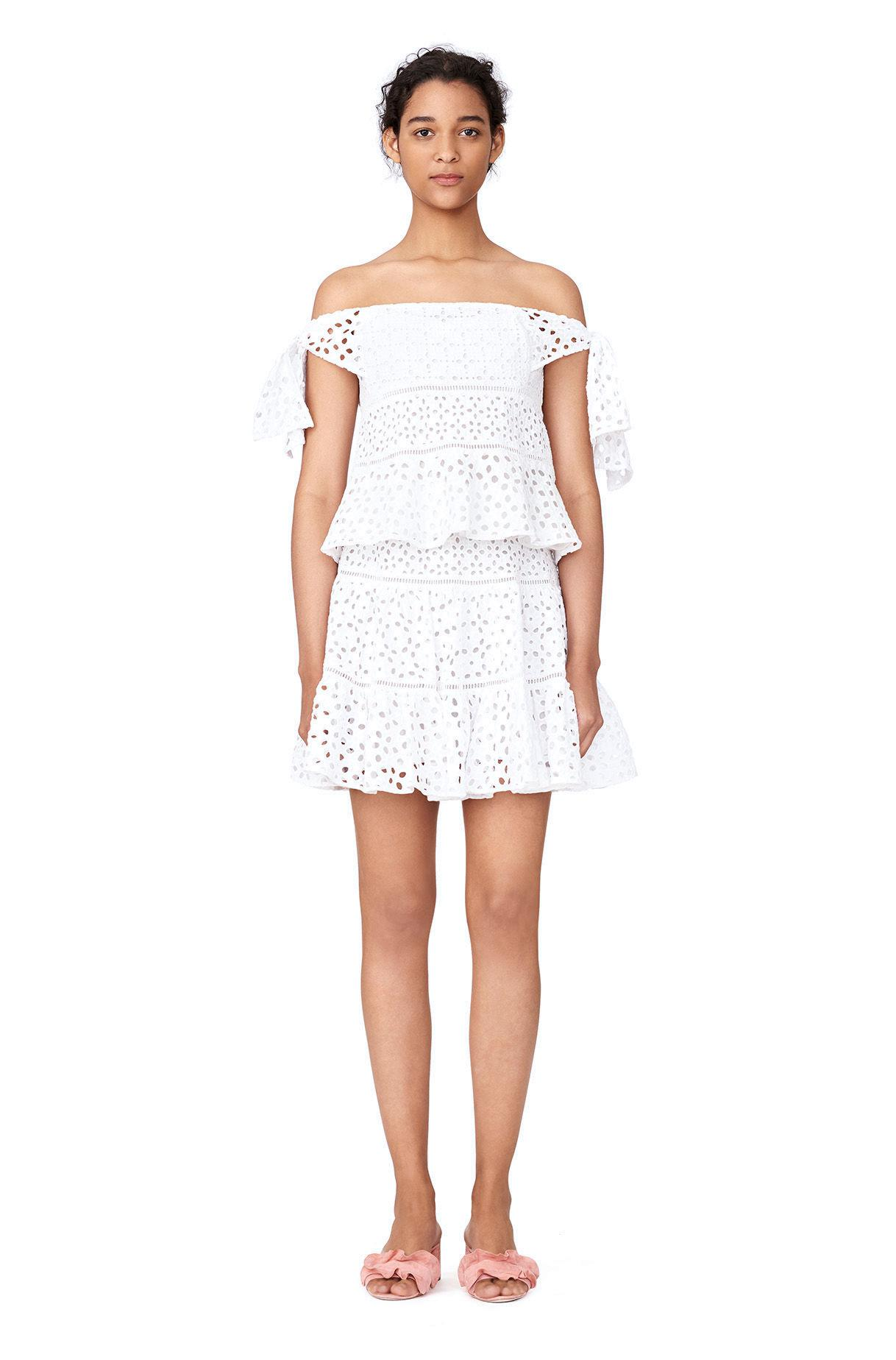 3a9d5f2818ce9 Lyst - Rebecca Taylor Off-the-shoulder Amora Eyelet Top in White