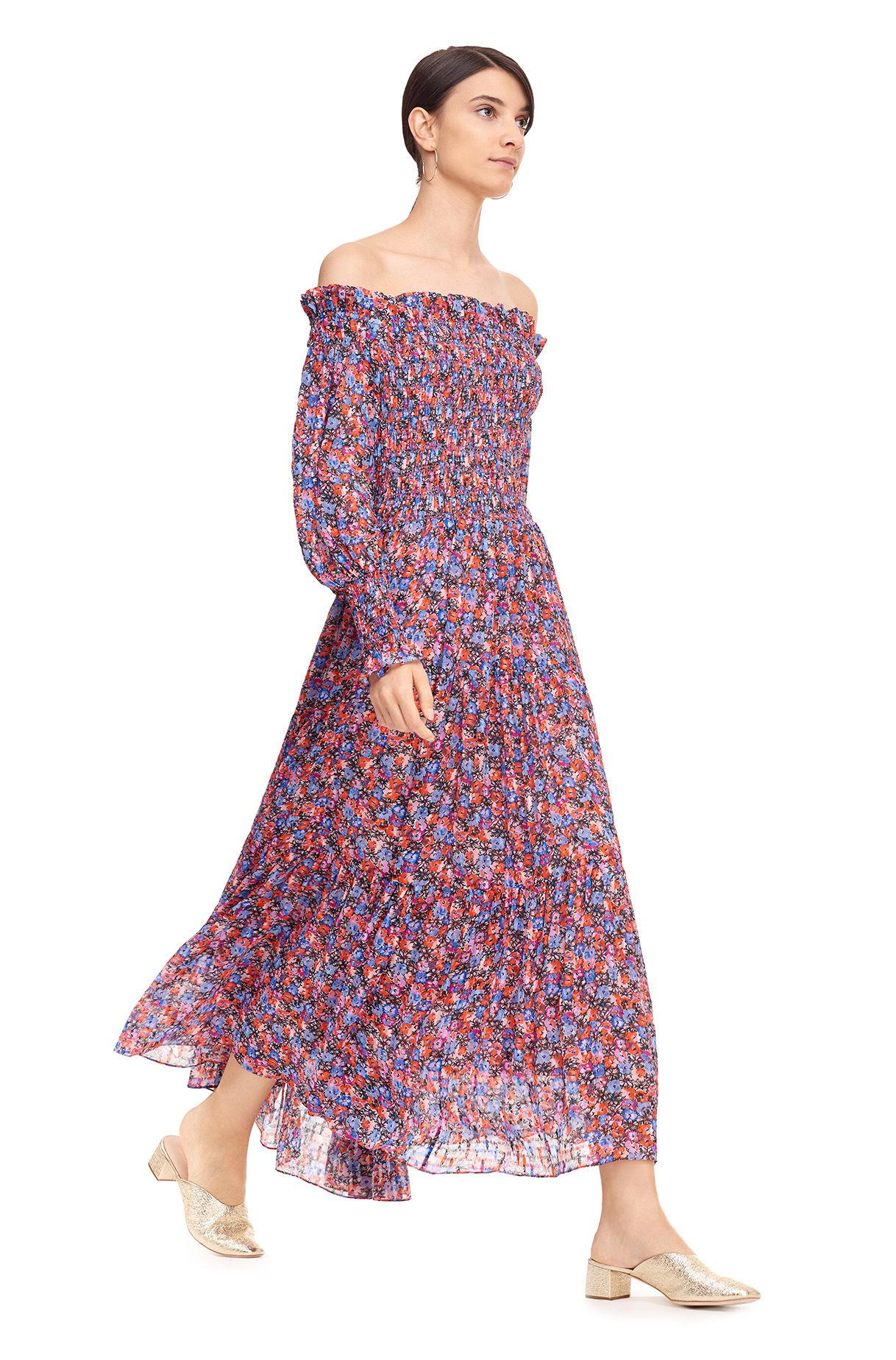 bfd2538d0a12 Lyst - Rebecca Taylor Off-the-shoulder Cosmic Fleur Print Dress