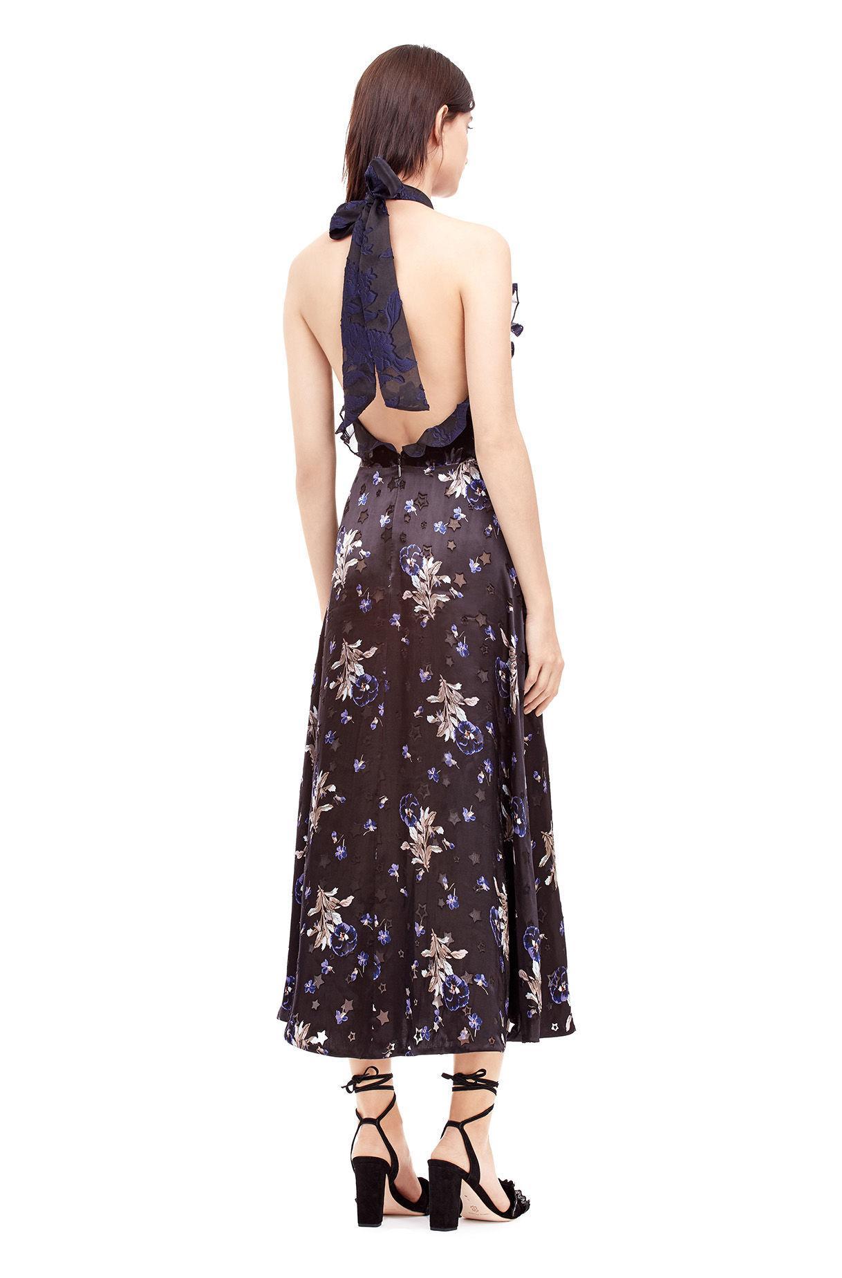 Brown Satin Halter Dress
