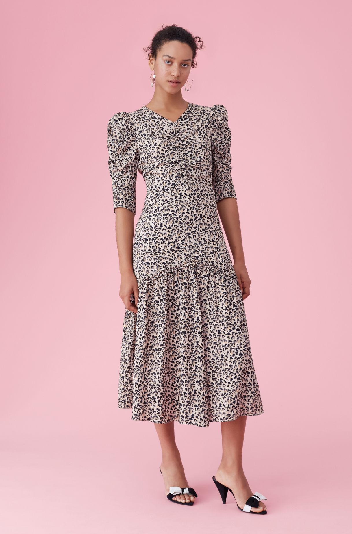 443c1a98571 Lyst - Rebecca Taylor Leopard Print Silk Ruched Dress Caramel