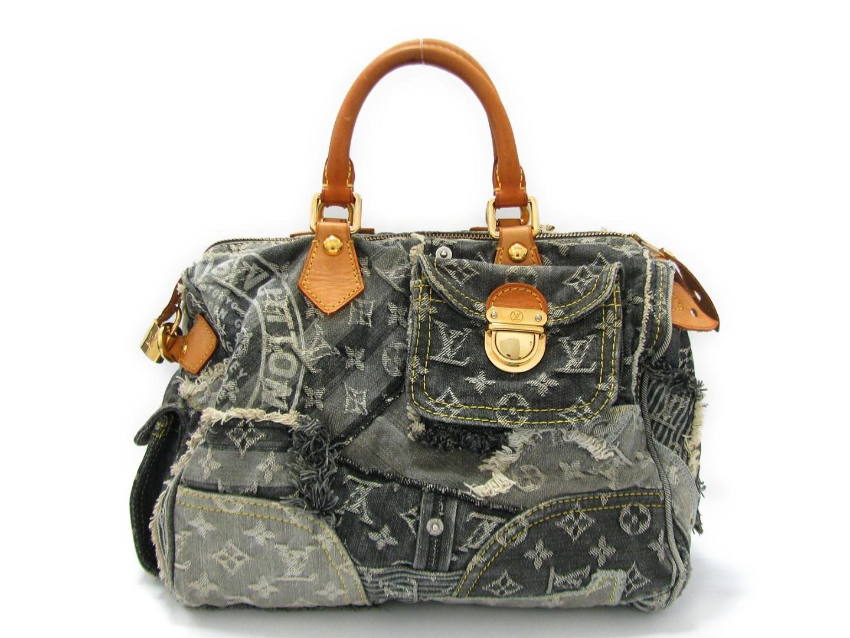 fac1a09308ff Lyst - Louis Vuitton Speedy 30 Boston Hand Bag M95381 Monogram Denim ...