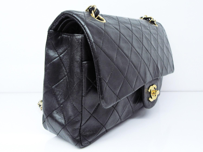 d7a7df275a2e Chanel Matelasse Double Flap Chain Shoulder Hand Bag Black Lamb ...