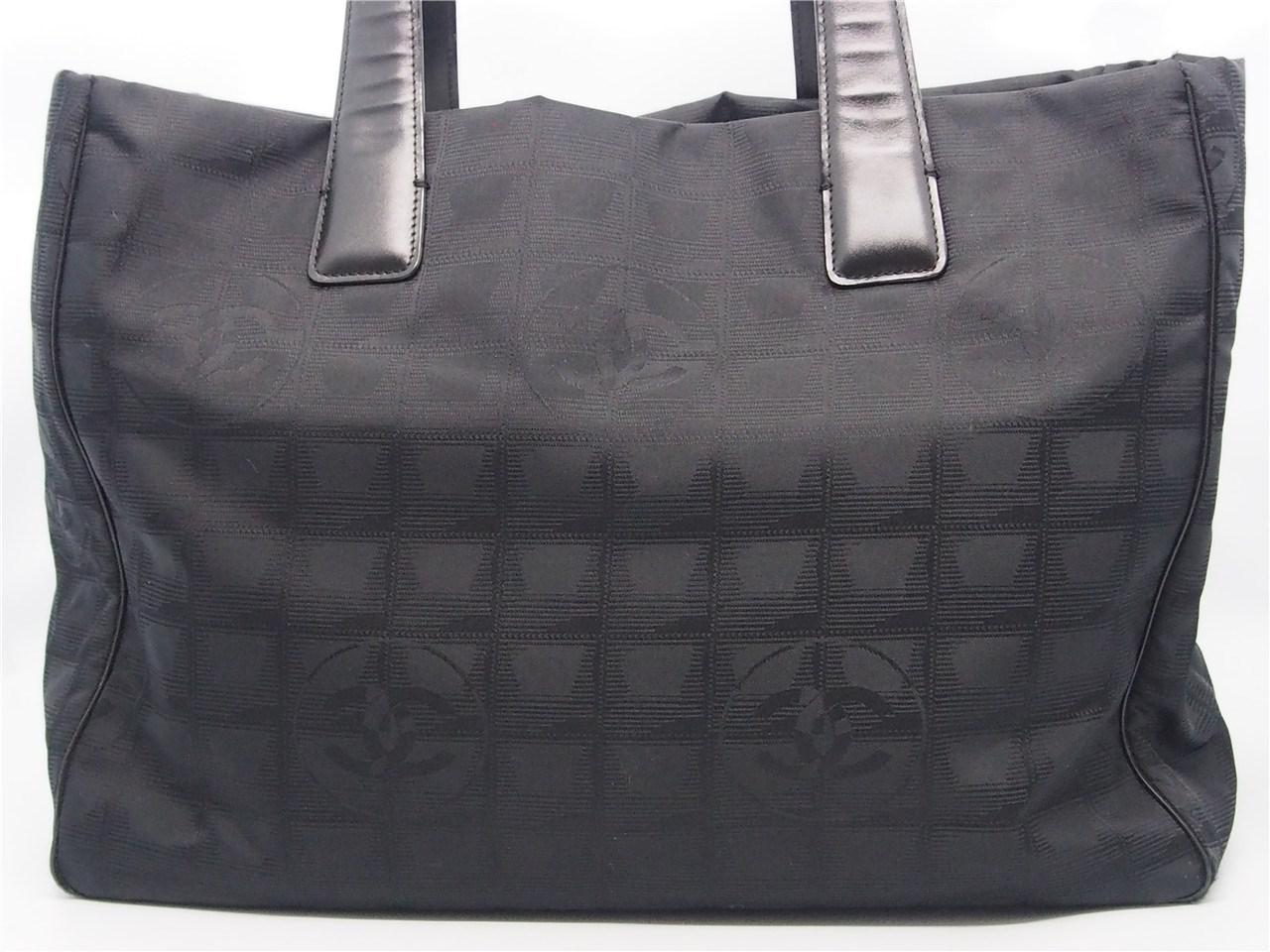 Lyst - Chanel Authentic Black Nylon Cc Logo Travel Line Shopper Tote ... b8fcd02aa912a