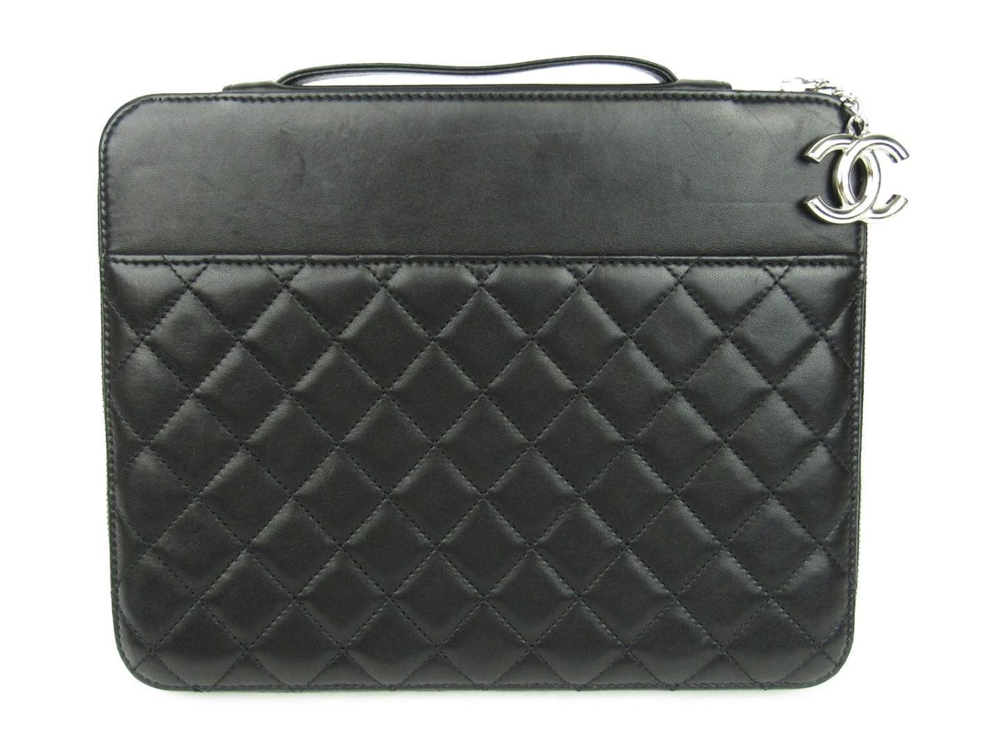 29391ea08960 Chanel Authentic Ipad Case Lambskin Leather Black Used Vintage in ...
