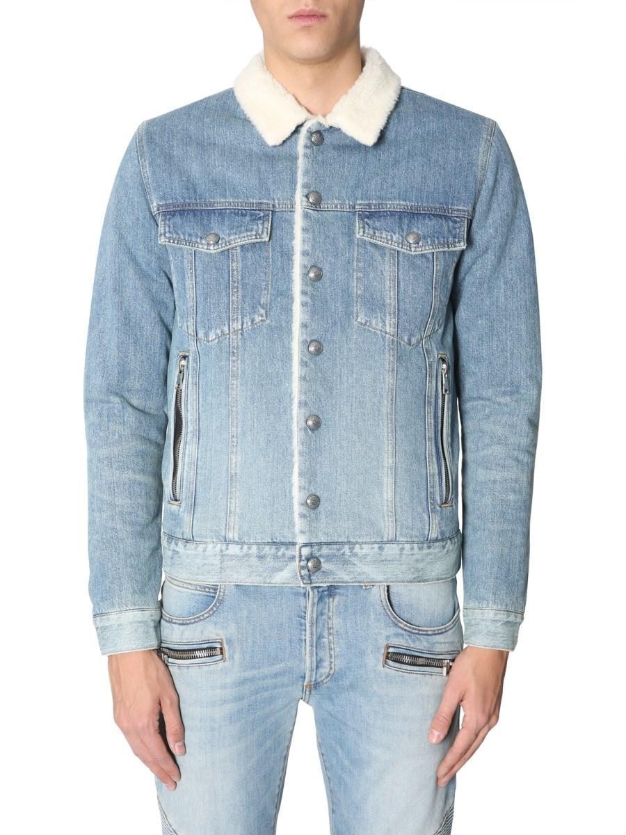 1b067302 Balmain Shearling Denim Jacket in Blue for Men - Lyst
