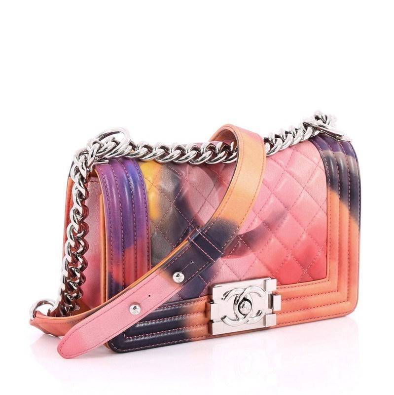 80ead518491140 Chanel Limited Edition Flower Power Boy Flap Bag Quilted Lambskin ...