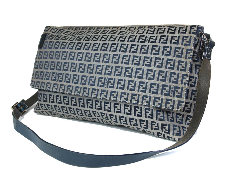 116a21dbe8 Lyst - Fendi Authentic Zucca Canvas Leather Navy Blue Shoulder Bag ...
