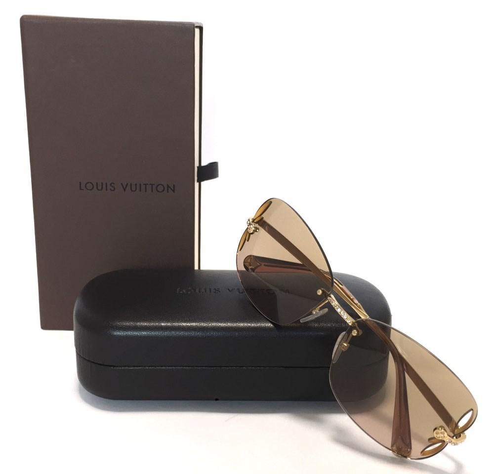 ee8589f1cf Lyst - Louis Vuitton Sunglasses Lily Strass Z0543u Women s in Brown