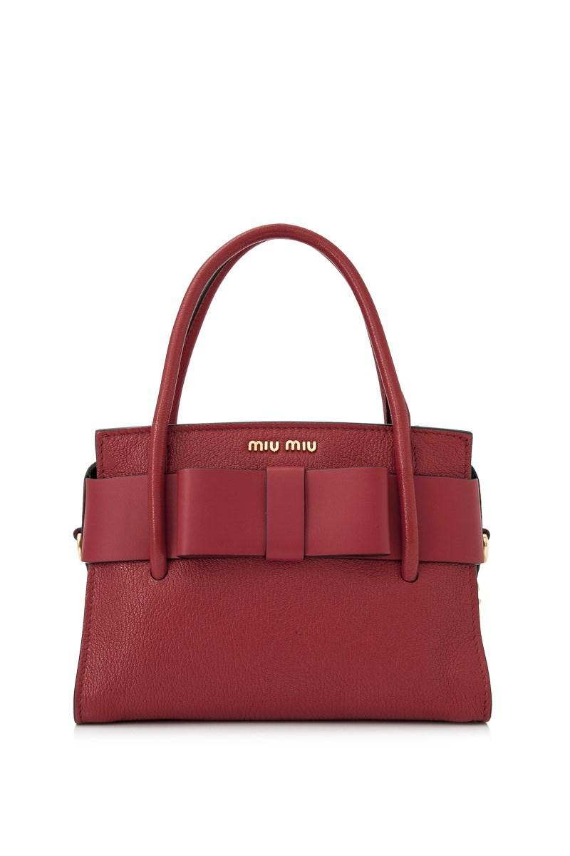 0d9f15c75c69 Lyst - Miu Miu Madras Fiocco Top Handle Bag in Red - Save 4%