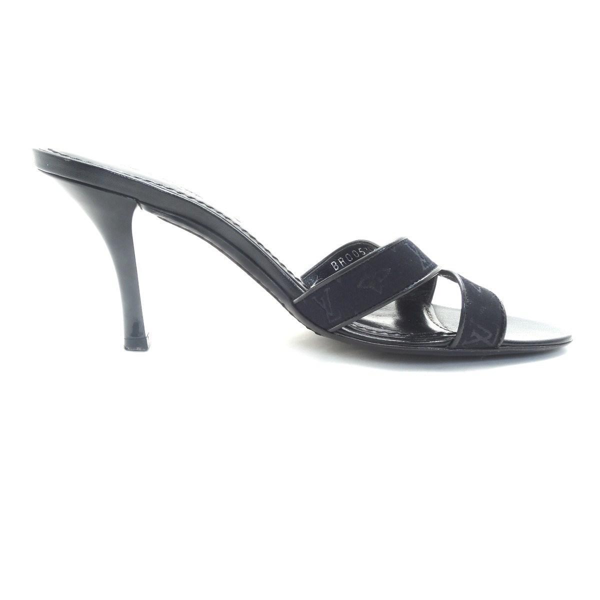 fd908376b321 Lyst - Louis Vuitton Monogram Mini Sandals Pumps Us5 in Black