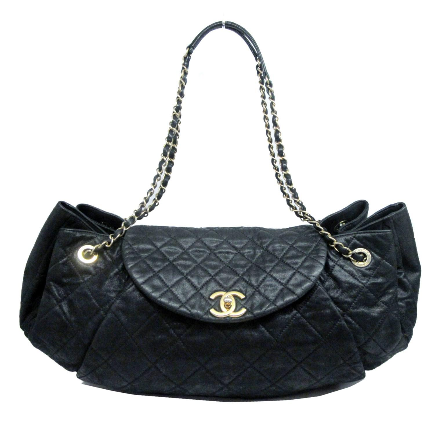 1781845d670f Lyst - Chanel Auth Quilted Chain Shoulder Tote Bag Black Leather ...