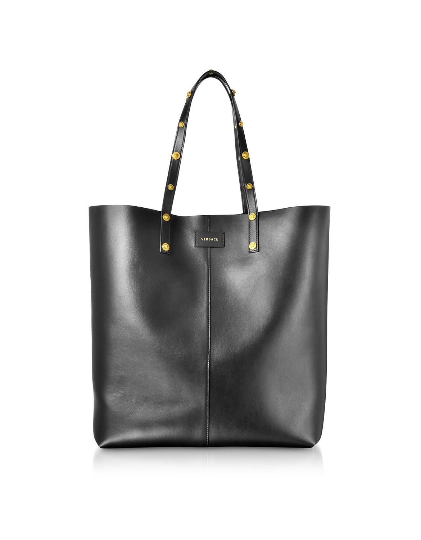 Versace black leather studded tote bag view fullscreen jpg 1170x1500 Black  versace tote bag 709a6b4fa64fb