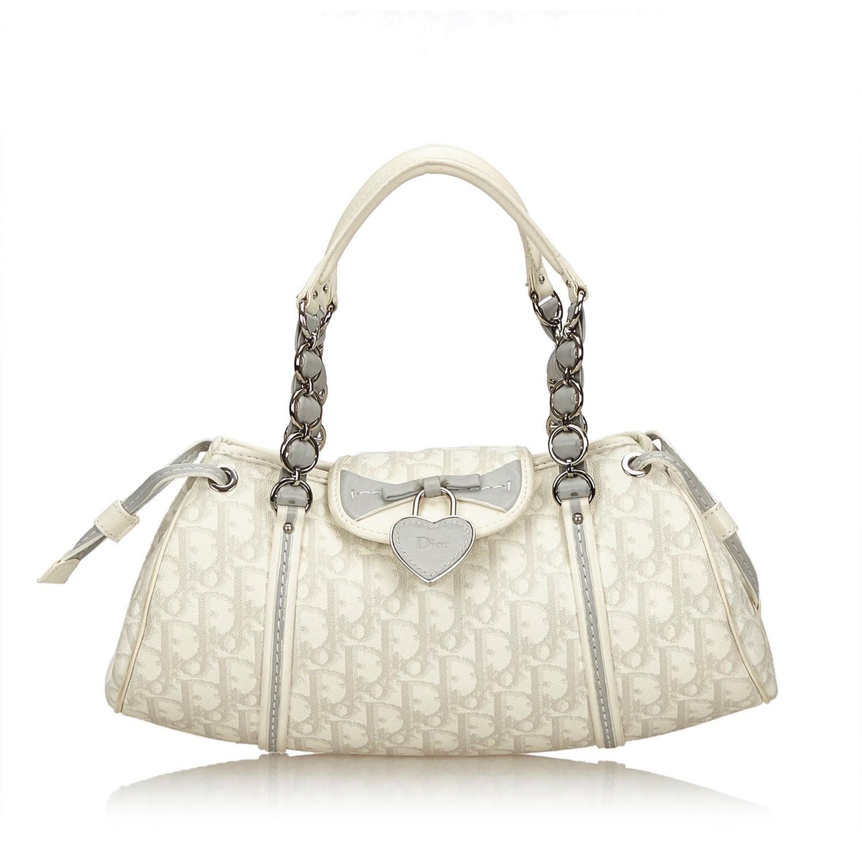 ac8da3751358 Lyst - Dior Oblique Romantique Handbag in White