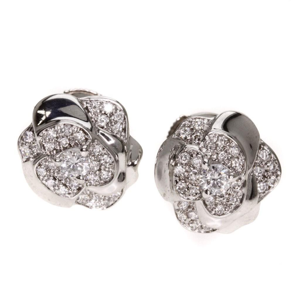 18k White Gold Earring Camellia Diamond