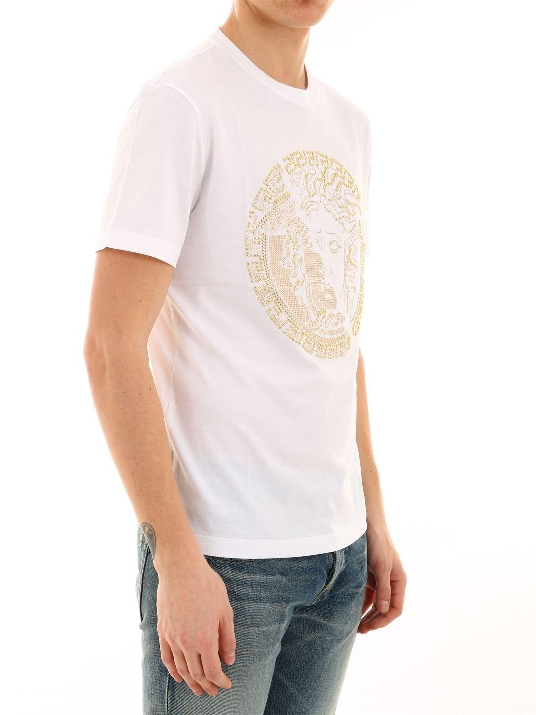 91557d7bc Lyst - Versace Men's A81884a224589a001 White Cotton T-shirt in White for Men