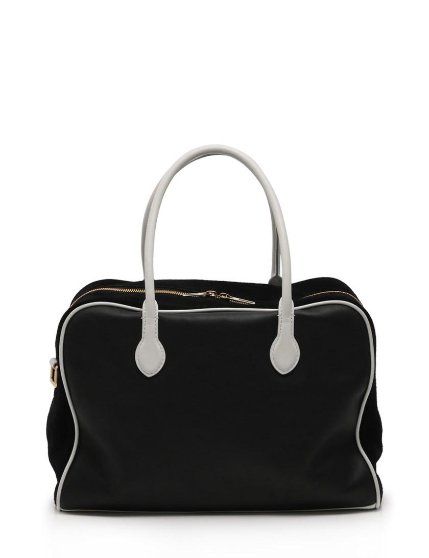 8c2d7d1f2b Lyst - Balmain Boston Bag 2way Leather Suede Black White in Black