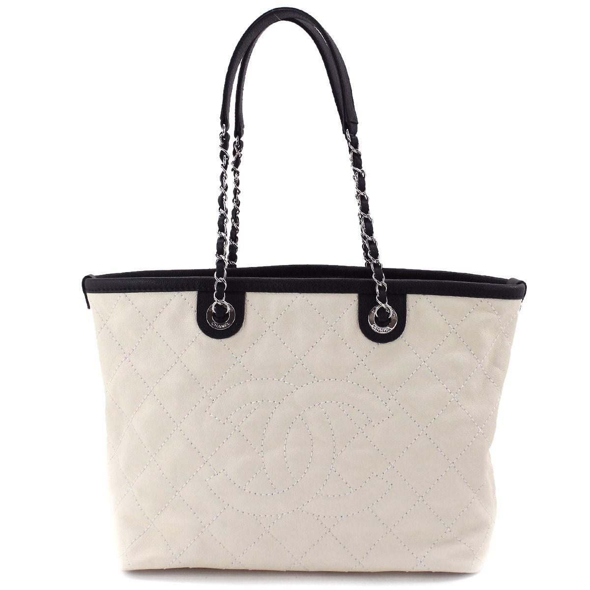 1dc36119ba5 Lyst - Chanel Caviar Skin Leather Cc Chain Shoulder Tote Bag Cream ...