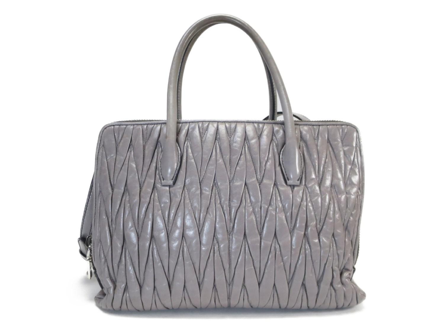 Lyst - Miu Miu Authentic Matelasse Shoulder Tote Bag Gray Leather ... bf2ad71e7a263