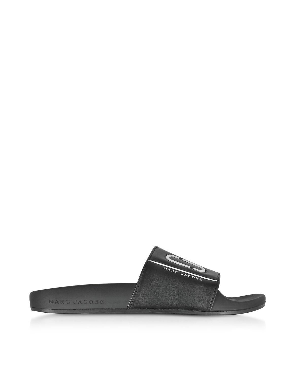 Marc Jacobs Black Leather Adilette Slides lCWCRFOG