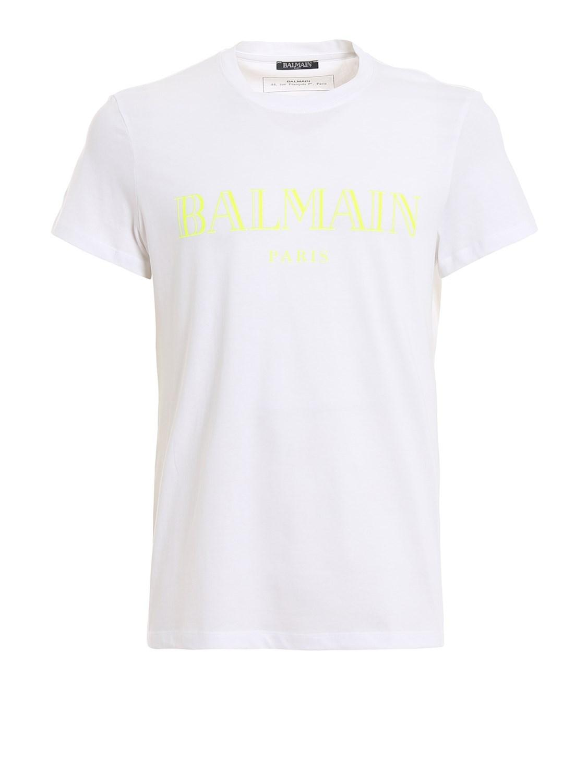 9f5f367e Balmain - Fluo Logo Print White T-shirt Rh11601i055gbc for Men - Lyst. View  fullscreen